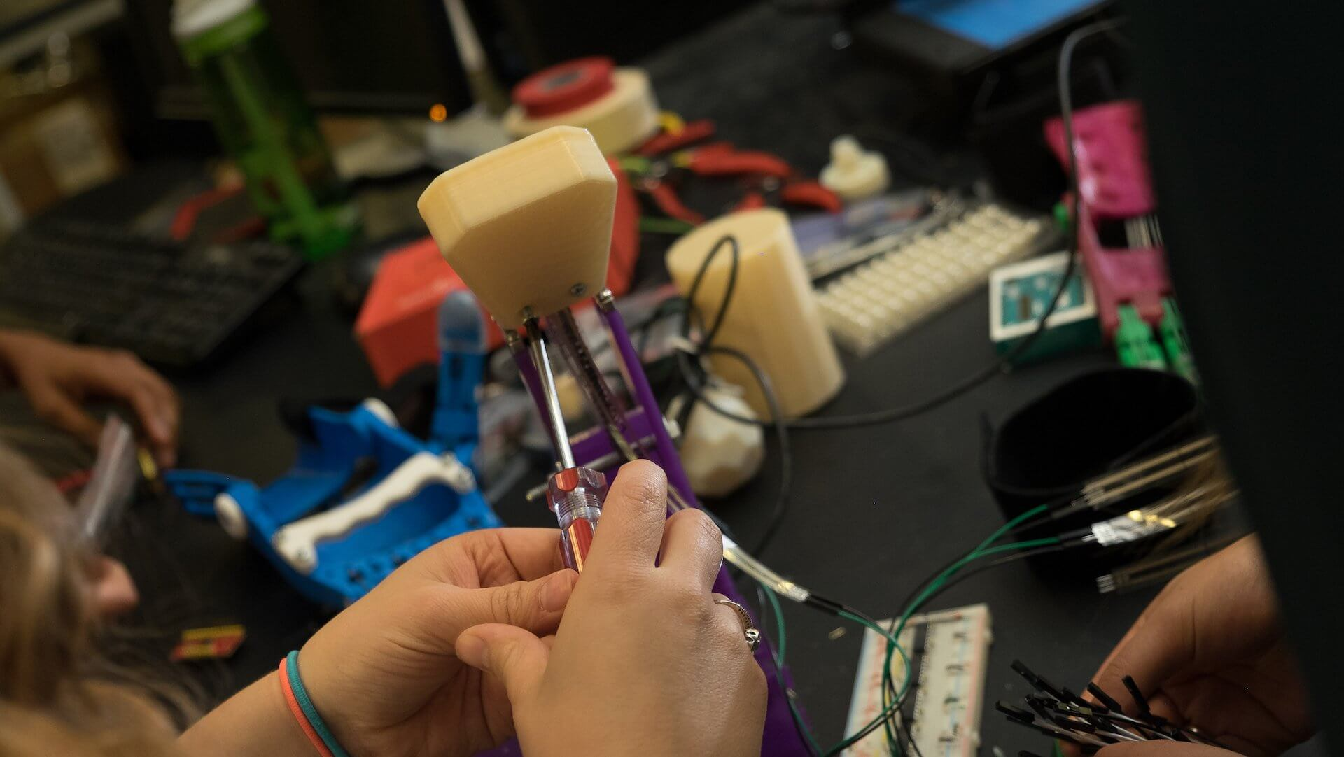 Rice University engineering students are building a testing suite to validate 3-D printed prosthetics for children with congenital partial hands. (Credit: Jeff Fitlow/Rice University)