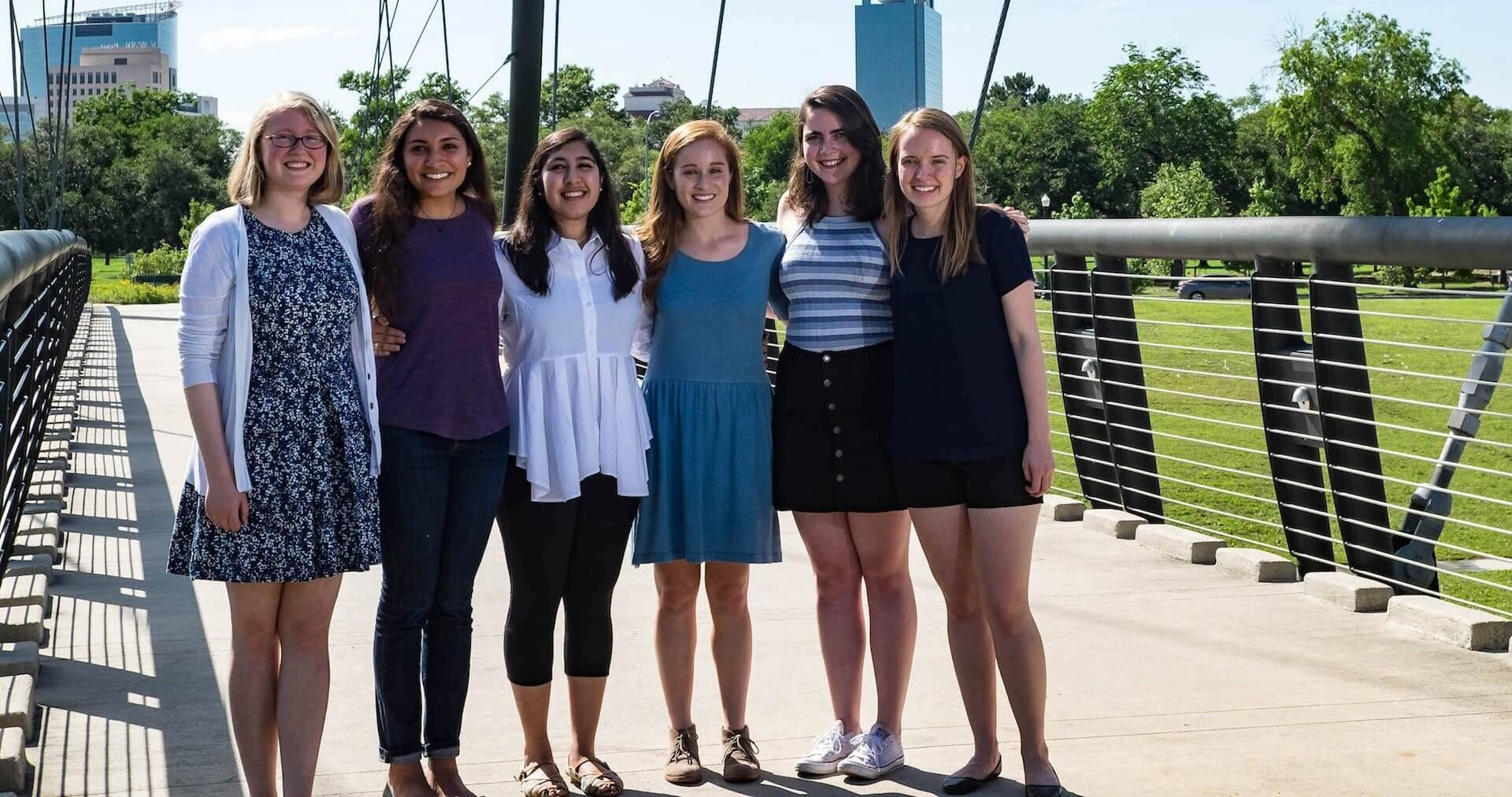 Rice University senior engineering students have developed enhancements to the ongoing Project Brays to alleviate flooding in Houston. Gathered on a footbridge over Brays Bayou are, from left, Kasia Nikiel, Avi Gori, Jinal Mehta, Julianne Crawford, Marie Gleichauf and Sam Greivell. (Credit: Jeff Fitlow)
