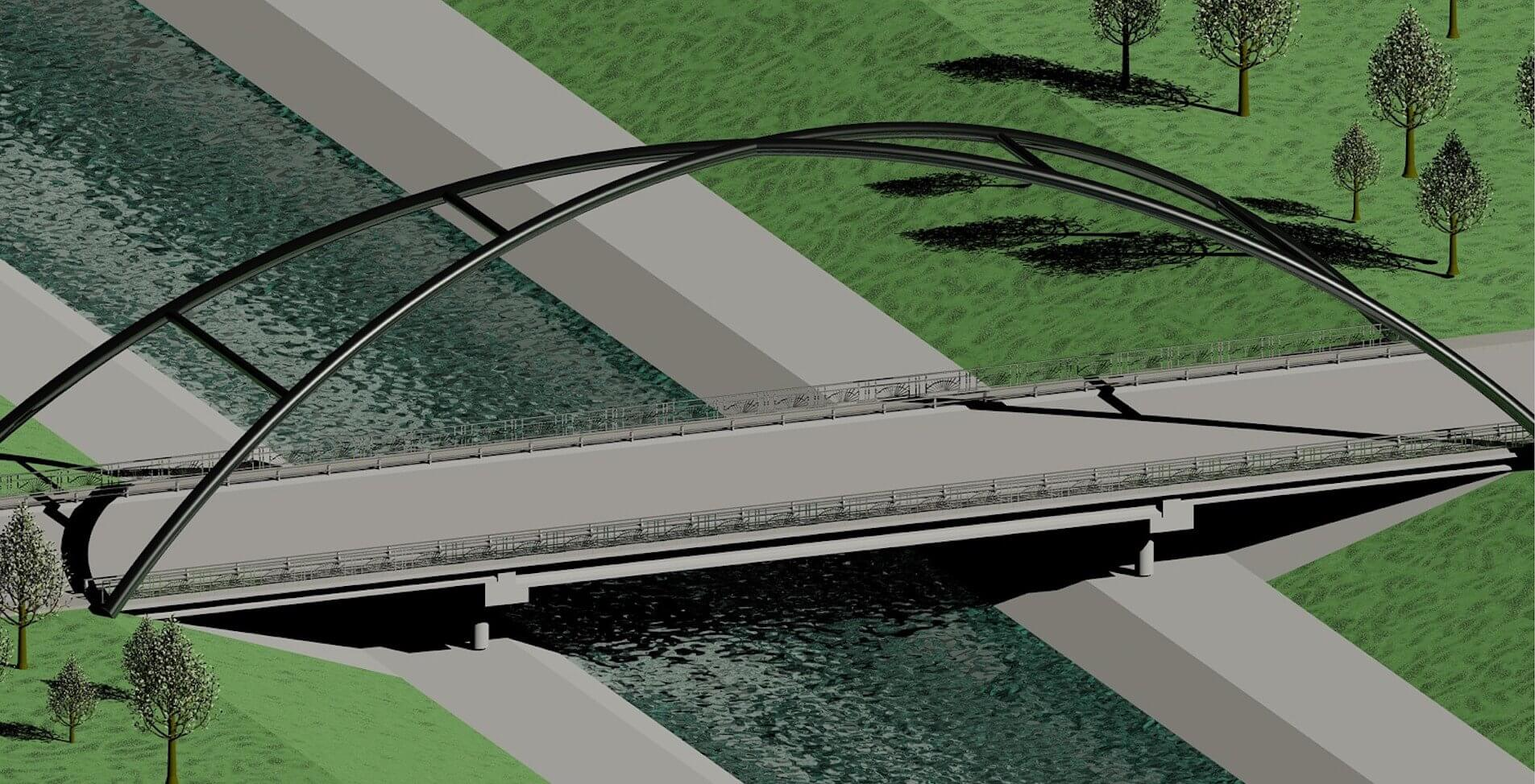 A rendering shows a redesigned Greenbriar Drive bridge over Houston's Brays Bayou that would streamline the flow of water to Galveston Bay. A team of Rice University engineering students designed enhancements to the ongoing Project Brays to alleviate flooding in two Houston neighborhoods. (Courtesy of Brays Yourself/Rice University)