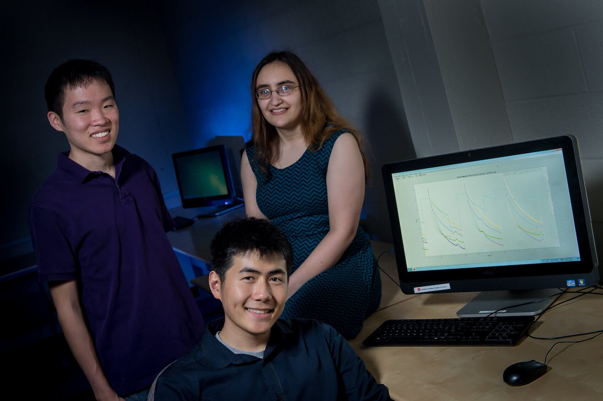 Rice University engineering students are helping to maximize the promise of magnetic nanoparticles to find faint traces of cancer in patients. From left: Brian Ho, Eric Sung and Rachel Hoffman. (Credit: Jeff Fitlow)