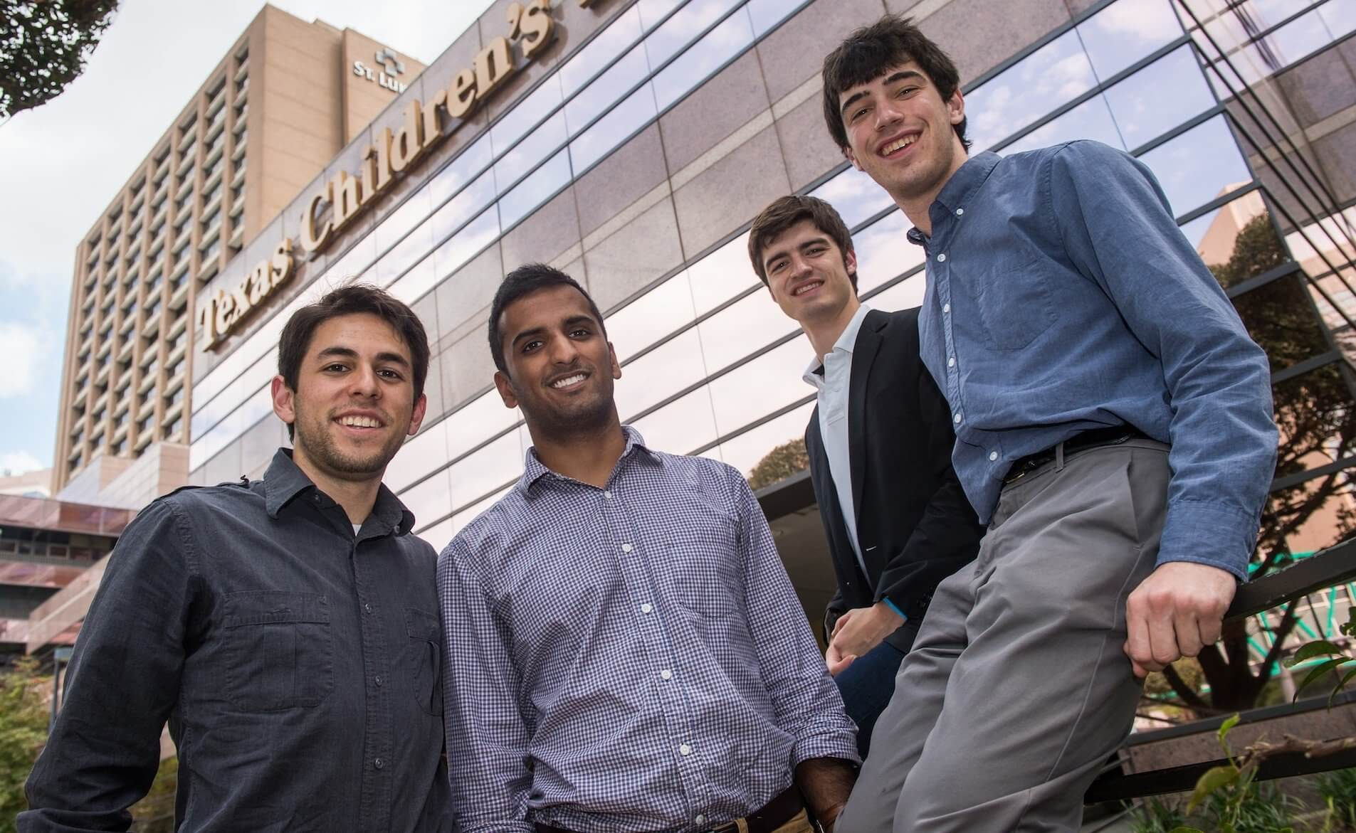 Senior engineering students at Rice University, working with doctors and staff at Texas Children's Hospital, have created a system to assure easy and reliable communications between doctors and ambulance crews. From left: Chase Stewart, Supreeth Mannava, Christopher Buck and Adam Bloom. (Credit: Jeff Fitlow/Rice University)