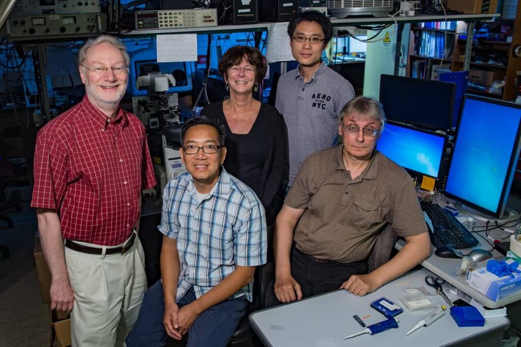 Rice University researchers have created a new way to pinpoint the location of cancer tumors using strong LED light, a unique detector and targeted nanotubes. From left: Bruce Weisman, Michael Vu, Kathleen Beckingham, Ching-Wei Lin and Sergei Bachilo.