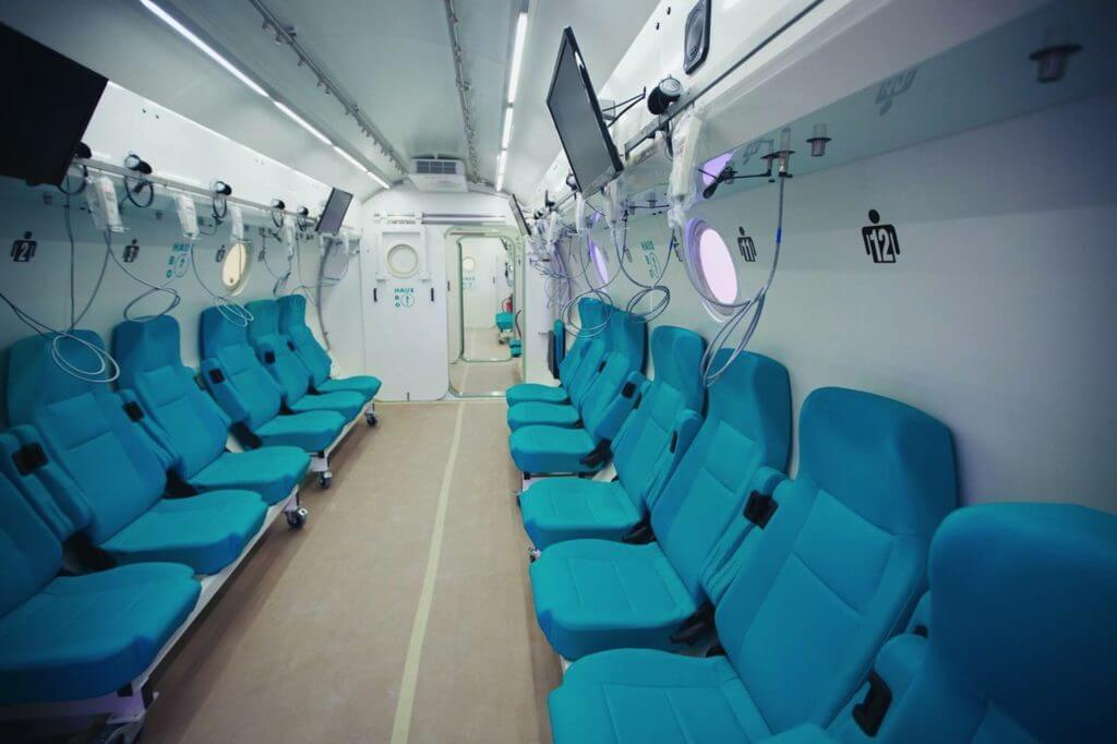 The interior of a hyperbaric chamber at the Sagol Center for Hyperbaric Medicine and Research in Israel, used to treat patients with fibromyalgia in a recent trial. A new study showed patients who completed a two-month regimen of treatment experienced significant improvements in their health. (Credit: Sagol Center for Hyperbaric Medicine and Research)