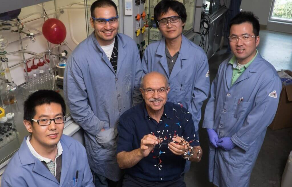 Rice University researchers have achieved total synthesis of shishijimicin A, which shows potential as a powerful cancer-fighting agent. From left, Zhaoyong Lu, James Woods, K.C. Nicolaou, Ruofan Li and Te-ik Sohn. Photo by Jeff Fitlow