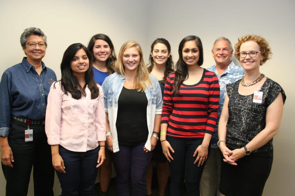 The first students taking part in a new Health Scholars Program at Rice University and the UTHealth School of Public Health gathered this week for orientation. From left, Mary Ann Smith, associate dean for student affairs at the UTHealth School of Public Health; Rice students Sanjana Puri, Cristell Perez, Brooke Evans, Megh Gore and Priyanka Mehta; and program co-directors Nicholas Iammarino, a Rice professor of kinesiology, and Kirsten Ostherr, a Rice professor of English. (Credit: Shannon Neufeld/UTHealth)