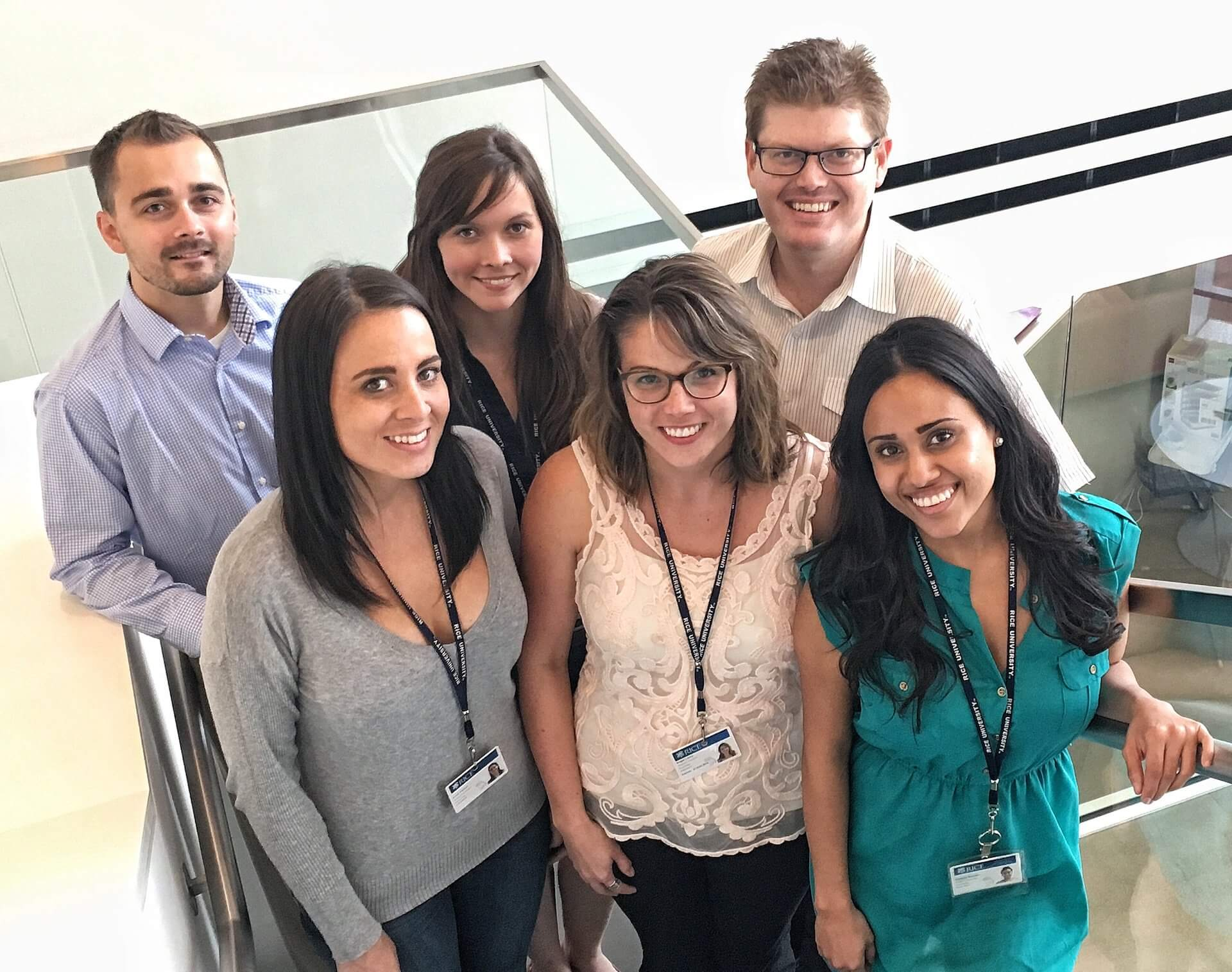 Rice University researchers have received a National Institutes of Health grant to identify connections between the loss of a significant other and increased risk of cardiovascular disease. Lab members, from left: back, Kyle Murdock, Larissa Gonzalez and Christopher Fagundes; front, Kristi Parker, Angie LeRoy and Patricia Morales. (Photo by Jeff Fitlow)