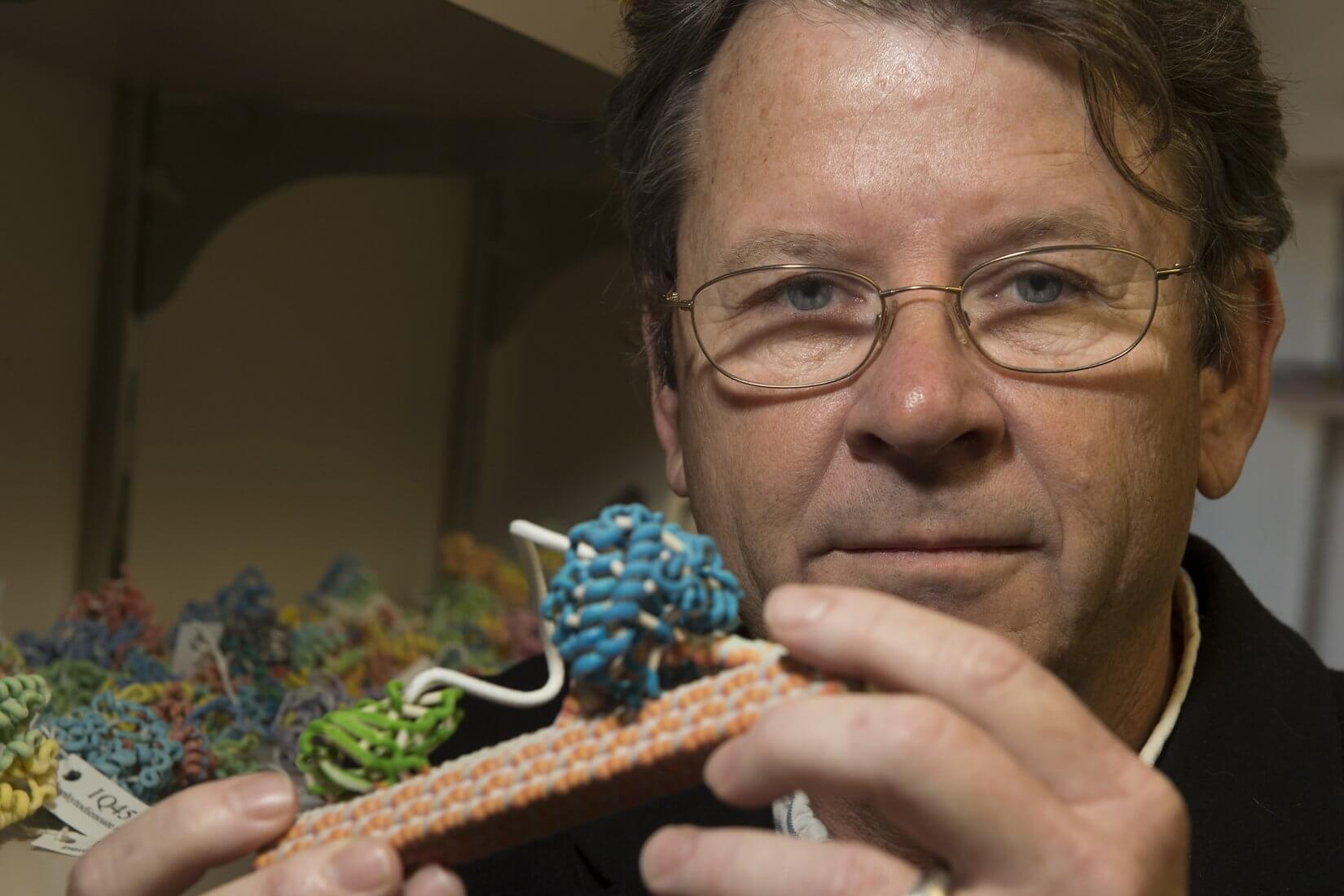 George Phillips with a 3-D model of an enzyme (blue/green) that cuts cellulose fibers (orange/gray). (Credit: Jeff Fitlow/Rice University)
