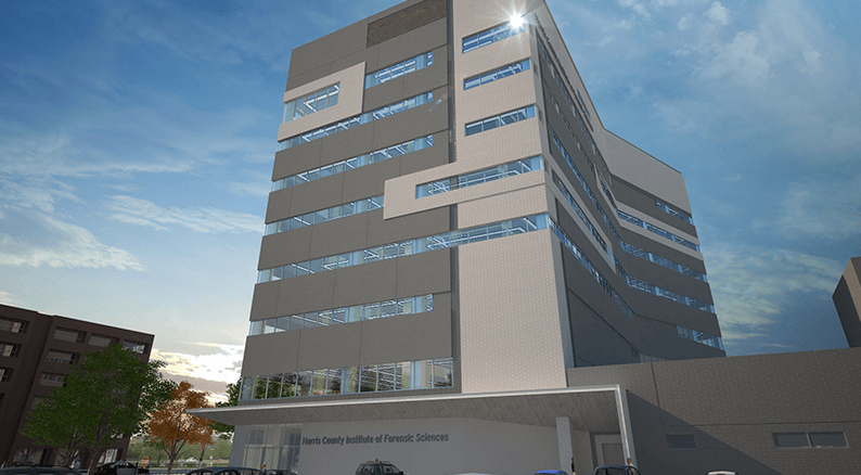 Artist rendering of the future Harris County Institute of Forensic Sciences building (Provided by: HCIFS)