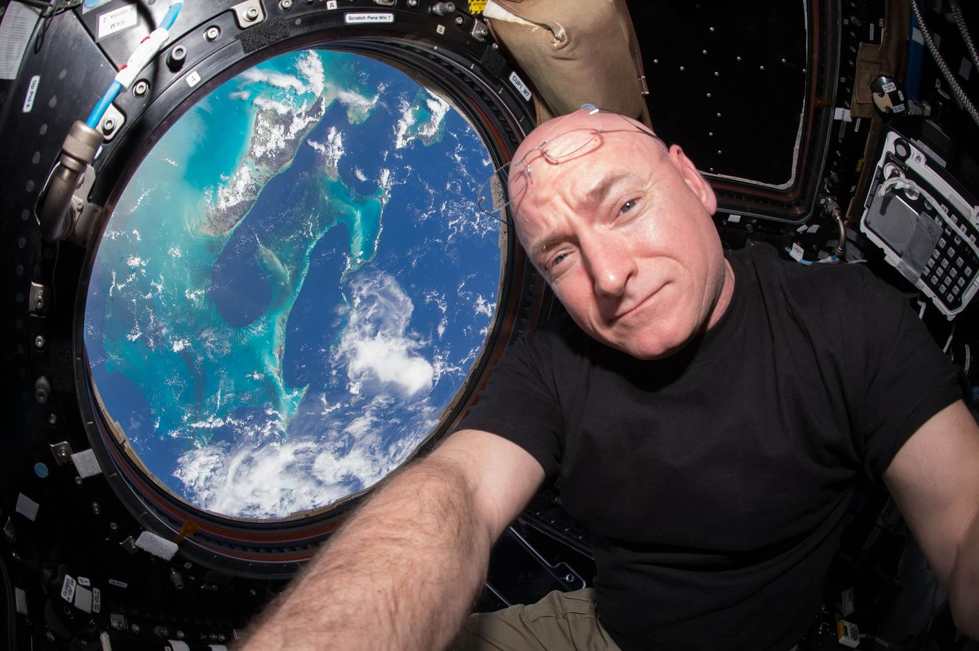Astronaut Scott Kelly aboard the International Space Station.