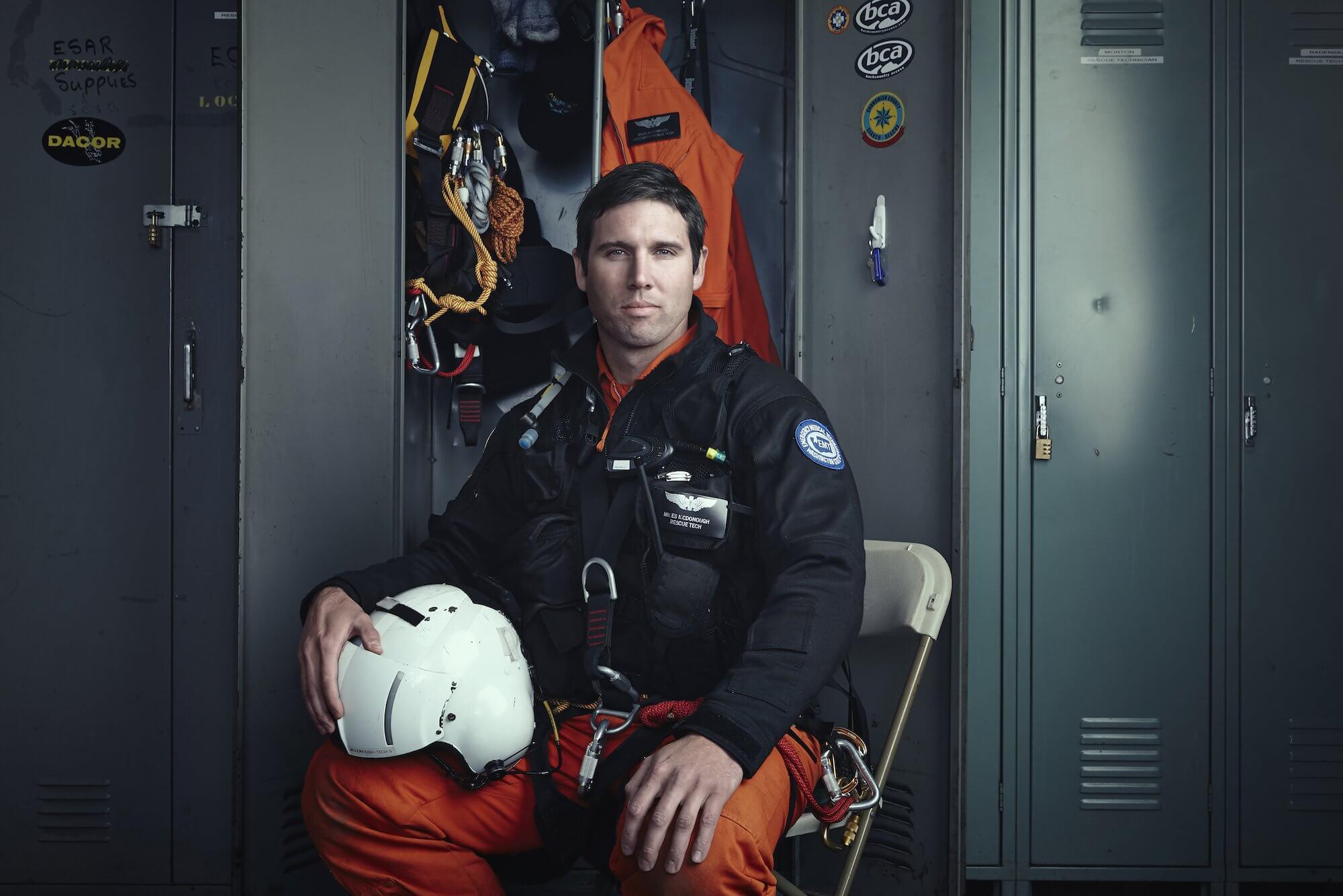 Photo of Miles McDonough in his flight gear.