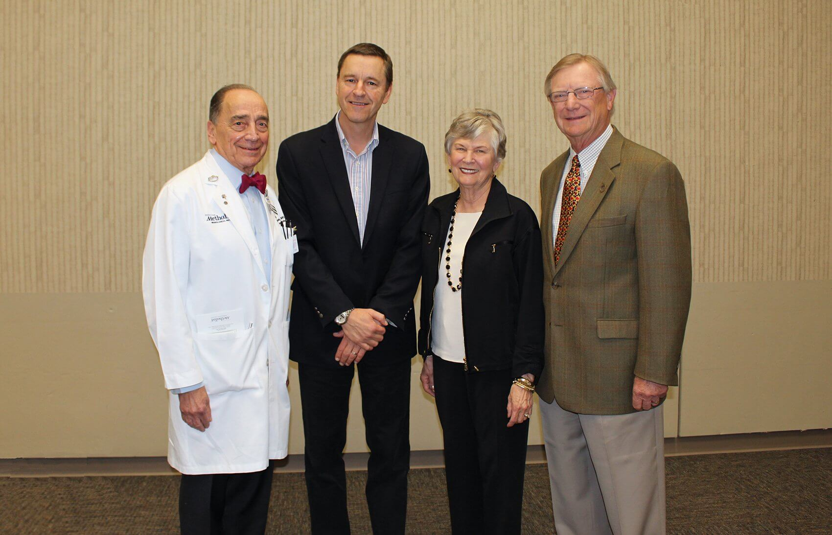 From left: Stanley Appel, M.D., Clive Svendsen, Ph.D., and Peggy and Gary Edwards.