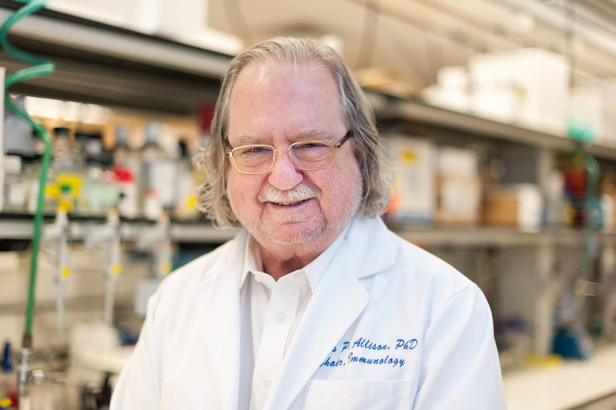 James P. Allison, Ph.D., in his laboratory at MD Anderson. (Courtesy of MD Anderson)
