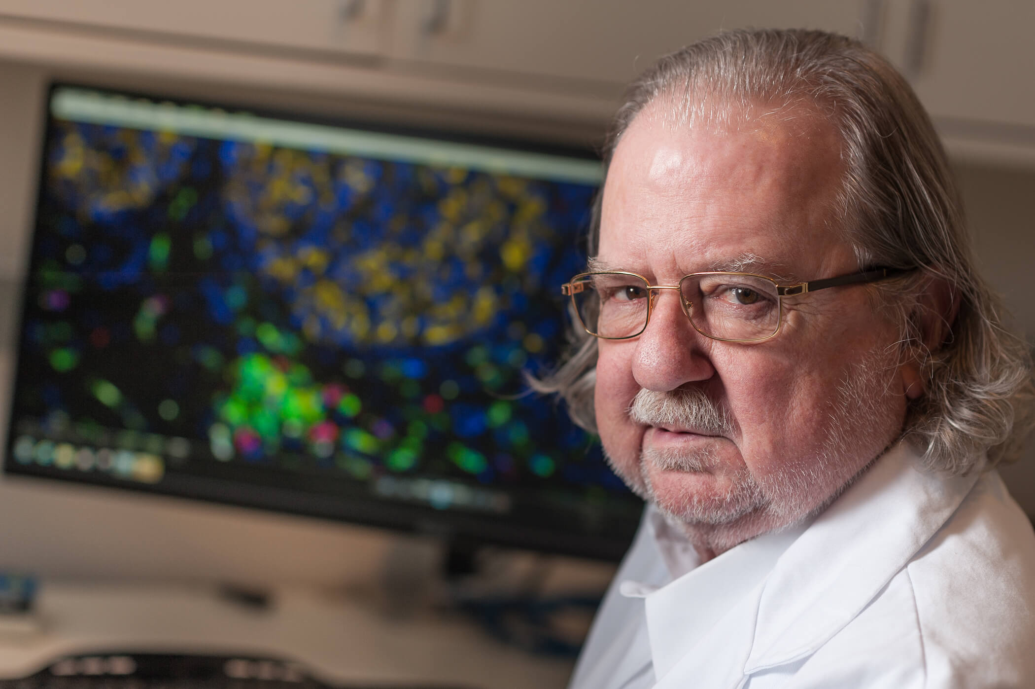 James P. Allison, Ph.D., in the laboratory where he studies T cells. (Courtesy of MD Anderson)