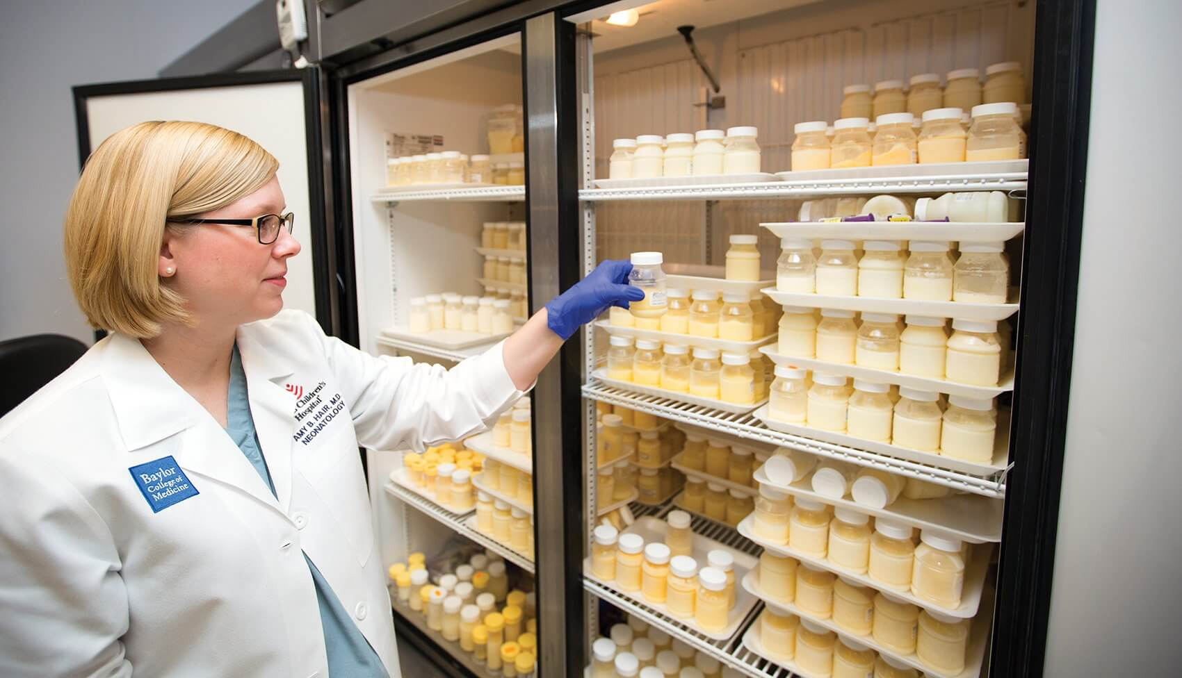 Amy Hair, M.D., neonatologist and director of the Neonatal Nutrition Program at Texas Children's Hospital, pictured inside the milk bank.