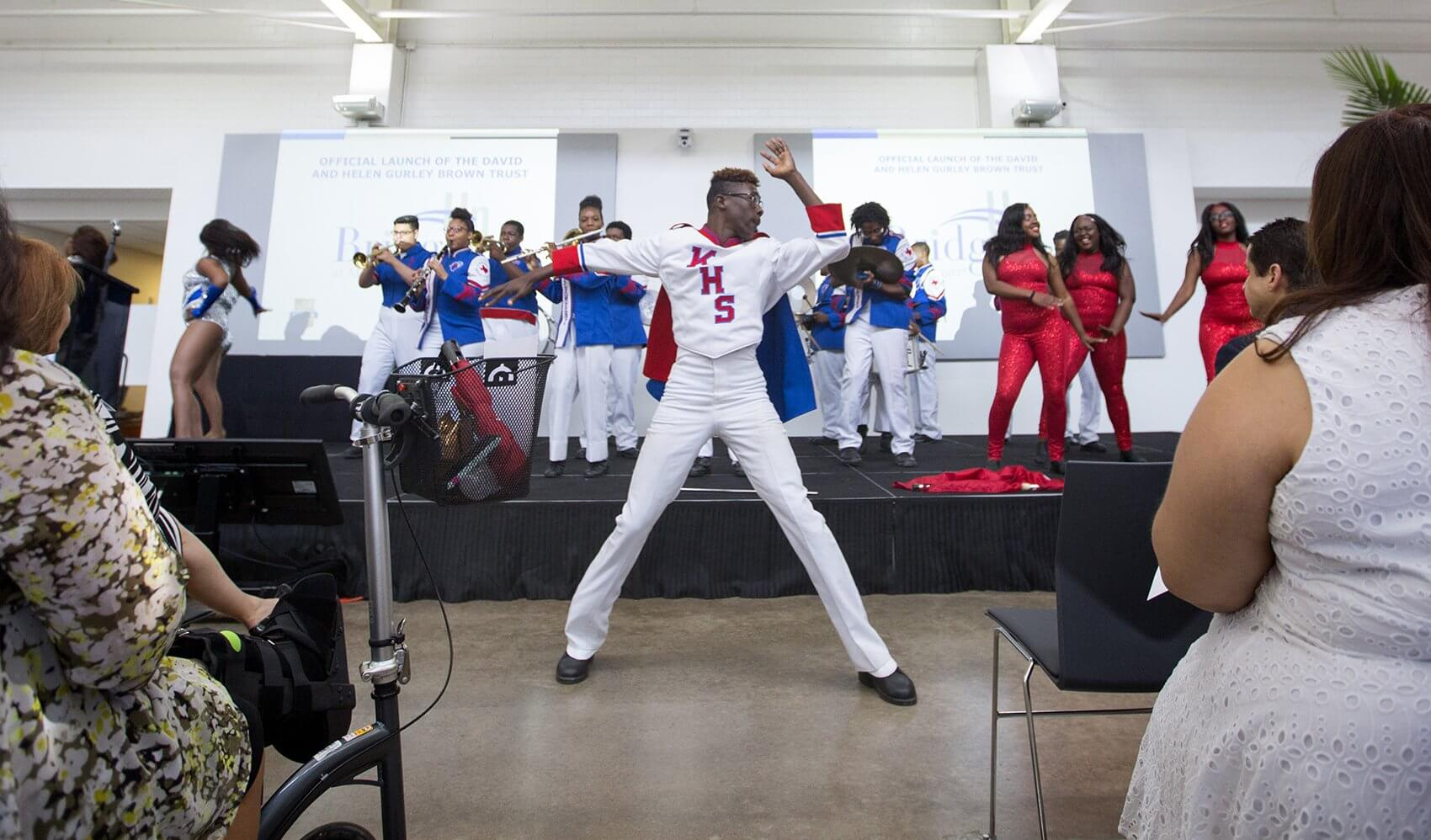 """Kashmere High School """"Thunder Soul"""" Marching Band performed for the crowd."""