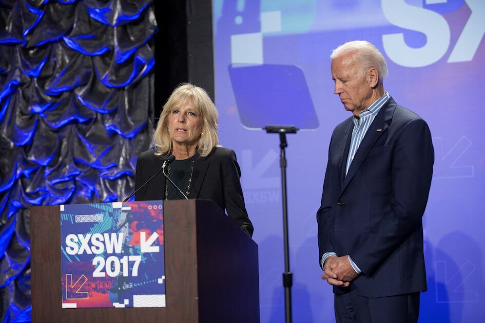 Jill Biden, M.D. with her husband, former Vice President Joe Biden, speaks at last year's SXSW Connect to End Cancer event.