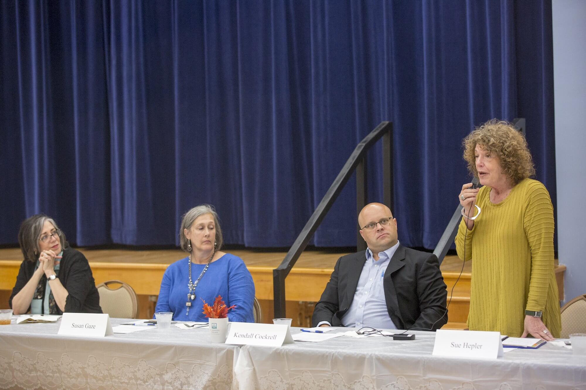 From left, Dyer, Susan Gaze, founder of Tender Transitions; Kendall Cockrell, an attorney with The Cockrell Law Firm; and Sue Hepler, Ph.D., a clinical social worker and geriatric psychologist.