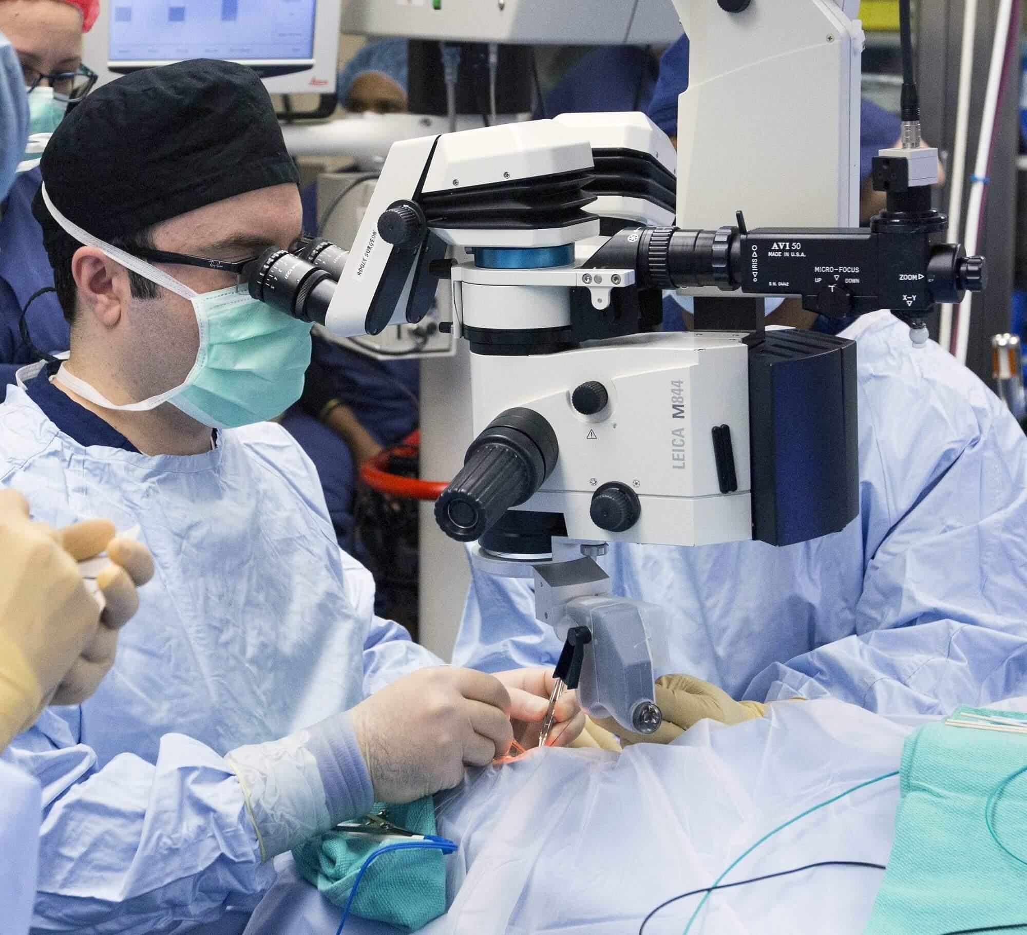 Dr. Amir Mohsenin implanting a bionic eye, the Argus ll, in Lidia Lopez at Memorial Hermann.
