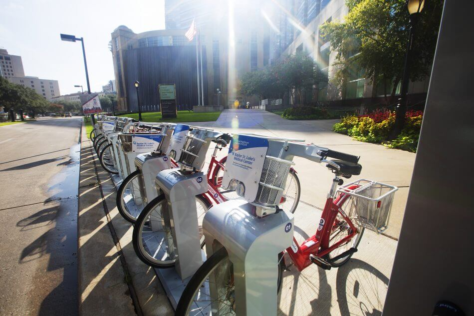 The BCycle station at 6550 Bertner Ave. is one of a dozen new stations at the Texas Medical Center. Photo by Cody Duty.
