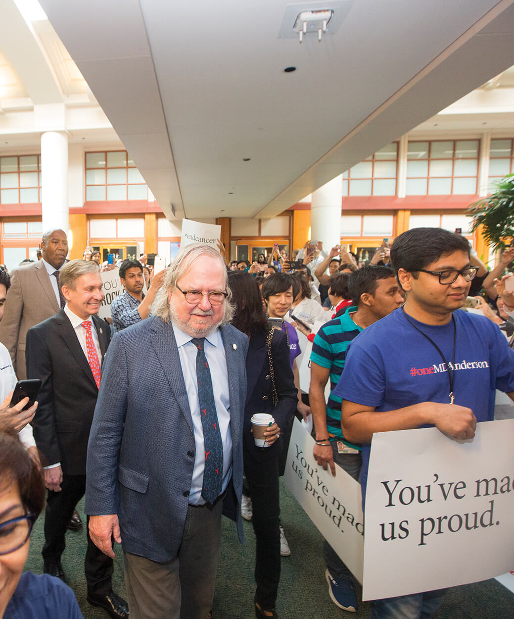 Supporters gathered inside MD Anderson to congratulate Allison on the Nobel during a parade in October 2018.