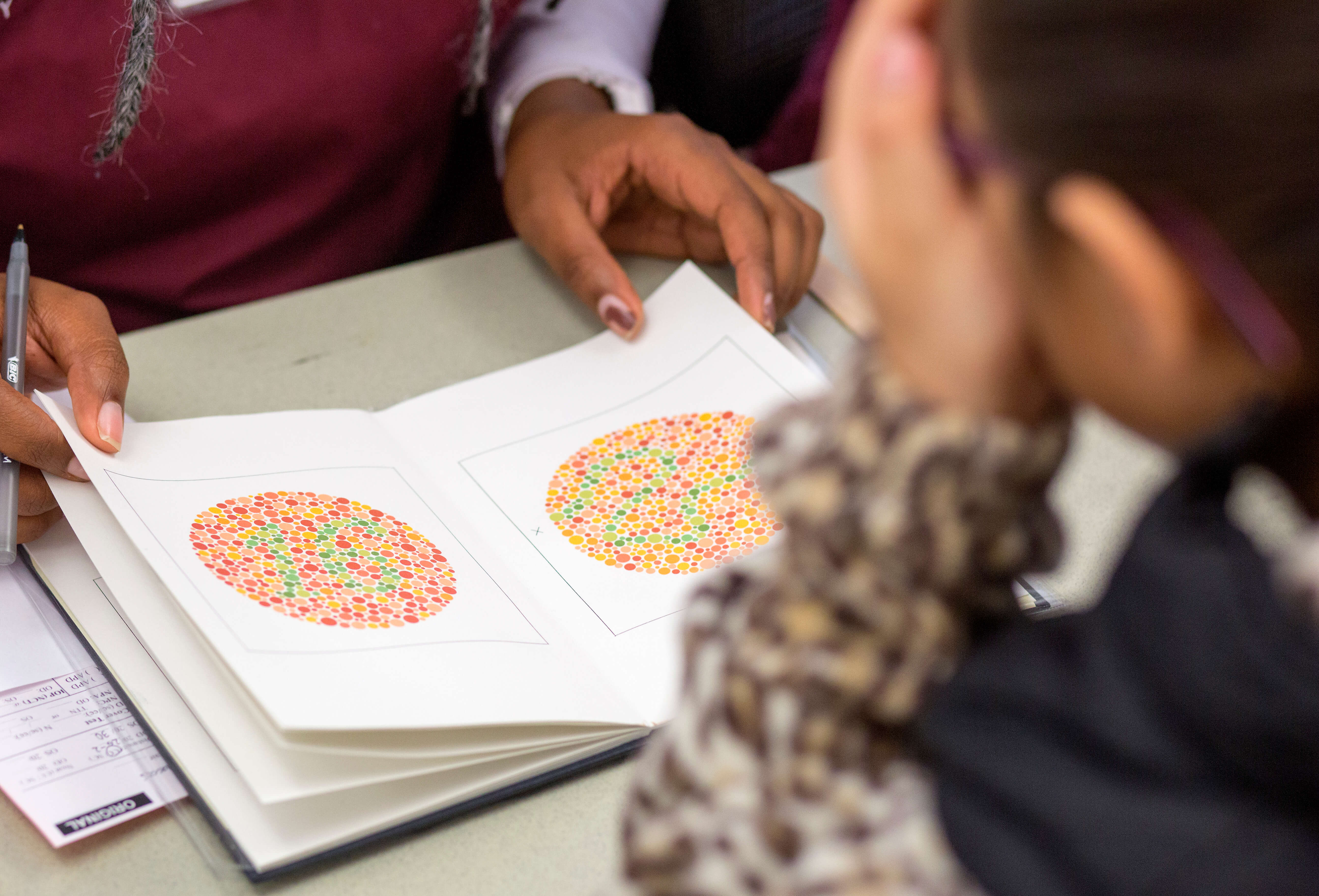 A volunteer performs a colorblindness vision test for a student during