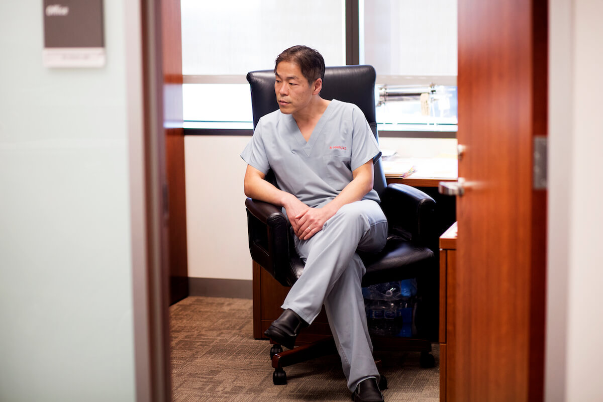 Adachi in his office at Texas Children's.