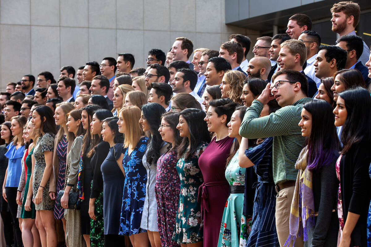 Medical students gather to take their group photo during Match Day at Baylor College of Medicine on March 15, 2019.  In all, 158 fourth-year medical students from the program were matched with residencies.