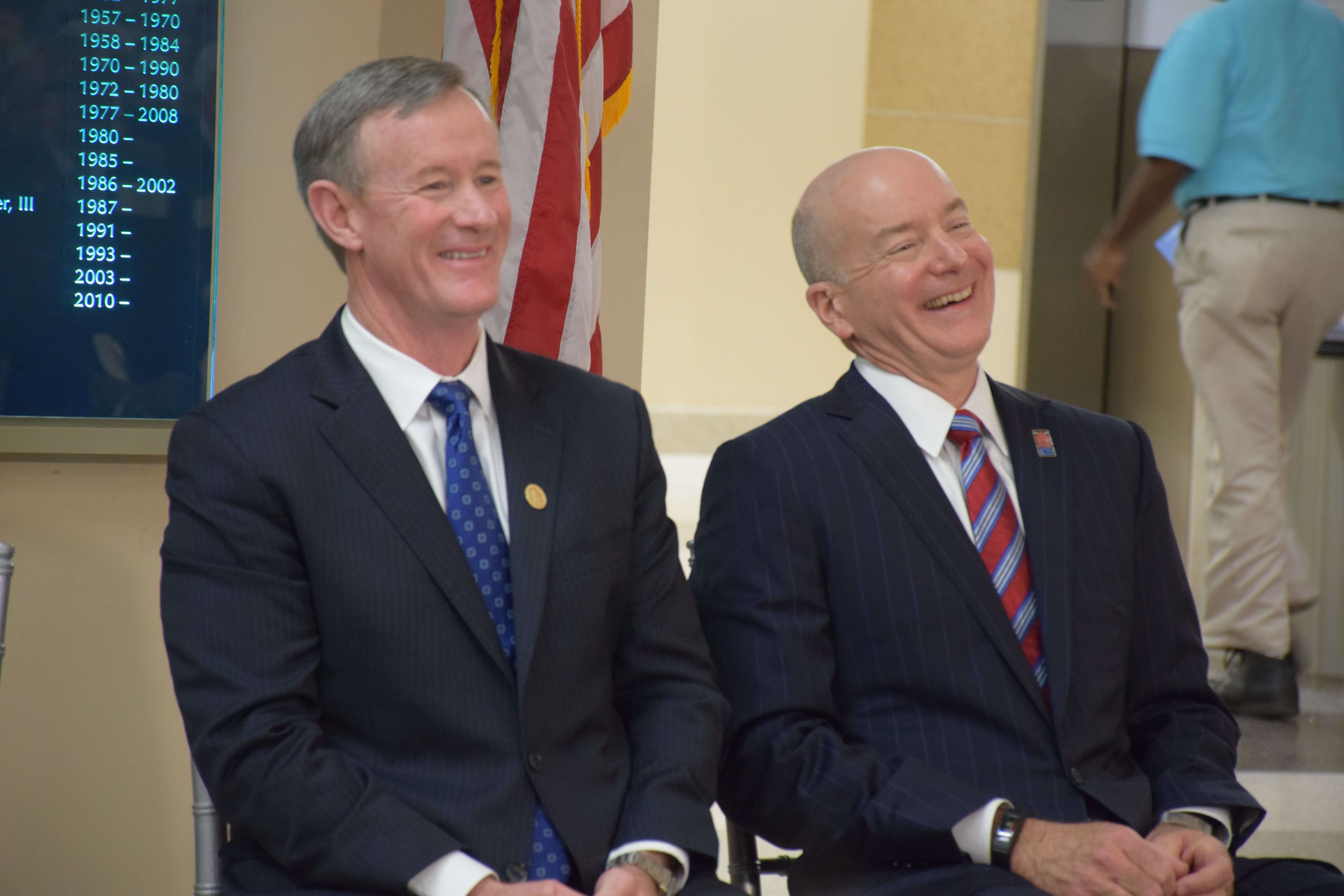 William H. McRaven, chancellor of the UT System and David L. Callender, M.D., president of UTMB, enjoy a laugh at the dedication ceremony for the Jennie Sealy Hospital Feb. 26, 2016. (Credit: UTMB)