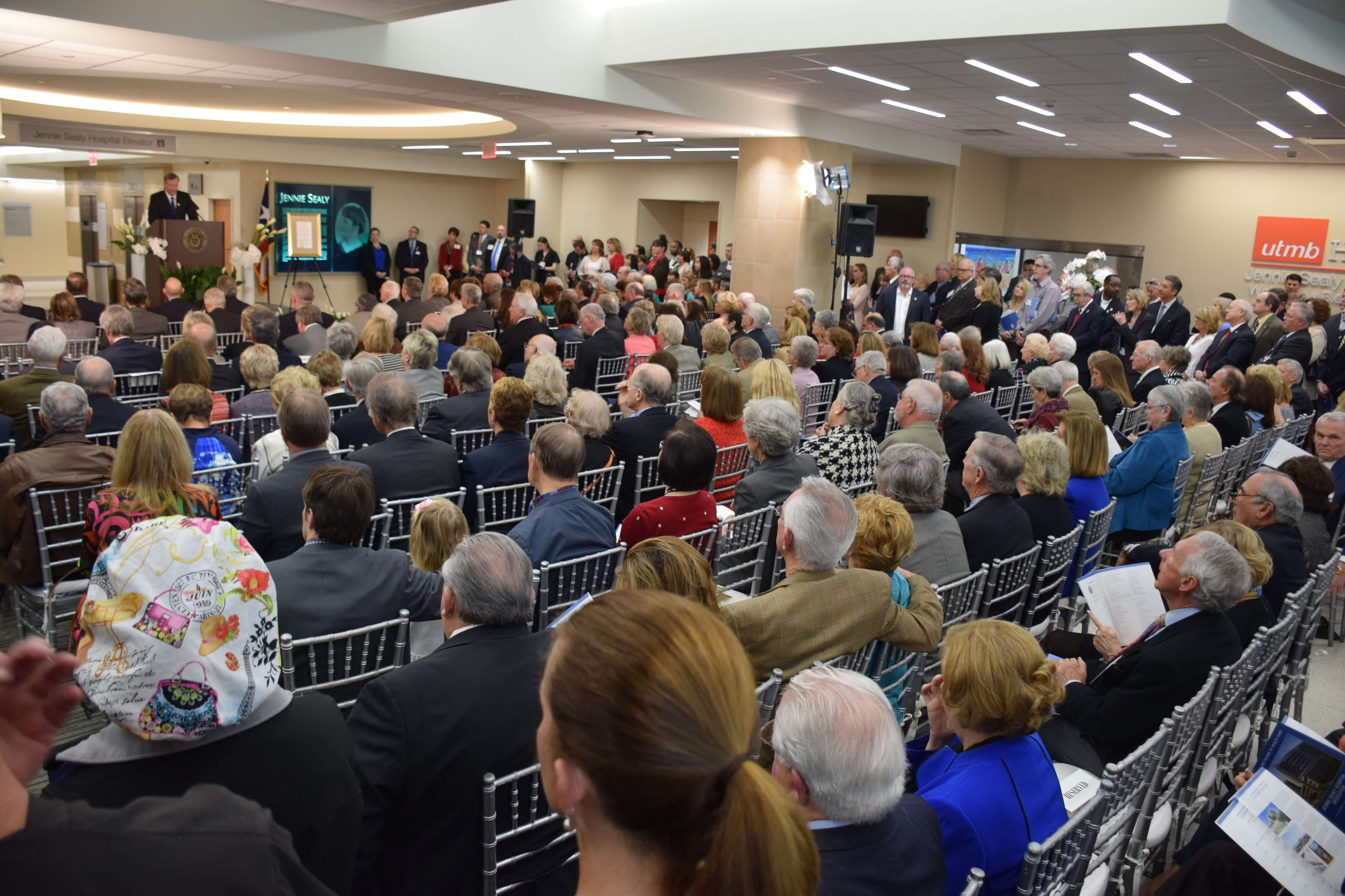 The Feb. 26 dedication of the new Jennie Sealy Hospital drew more than 700 people. The hospital is scheduled to begin accepting patients in April. (Credit: UTMB)