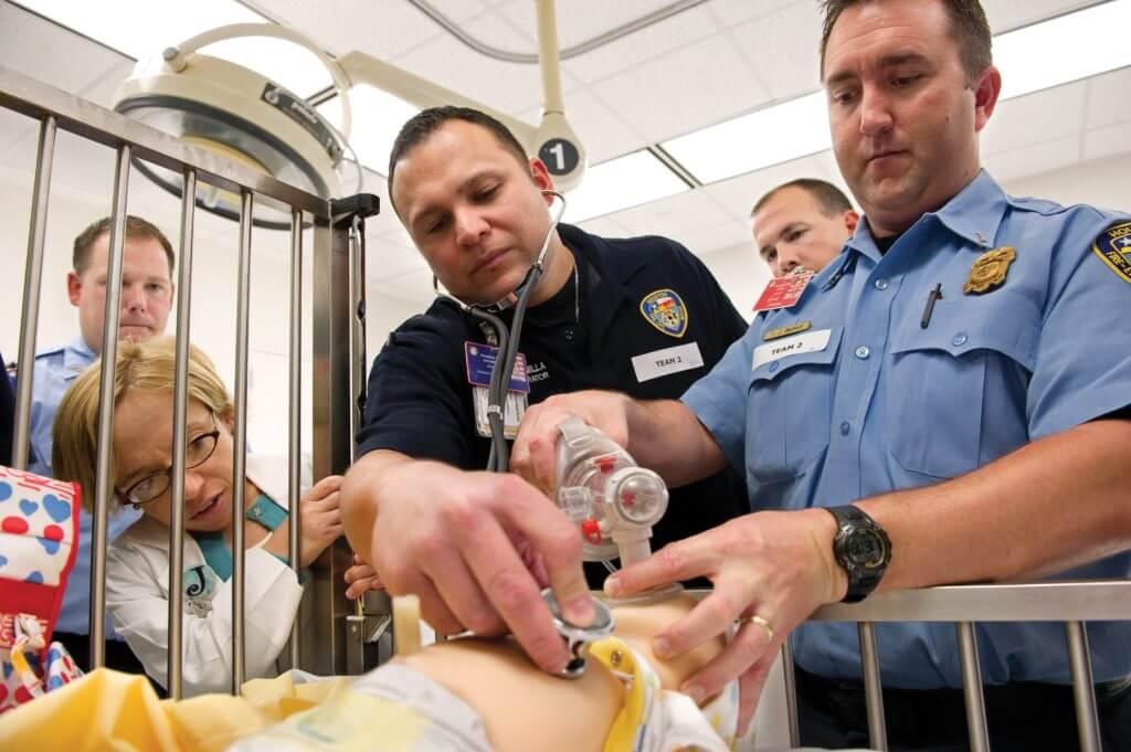 2K12-0094-PVK_0084-Dr.-Arnold-trains-Houston-Fire-Department-crew-in-Texas-Children's-Simulation-Center---photo-by-Paul-Vincent-Kuntz