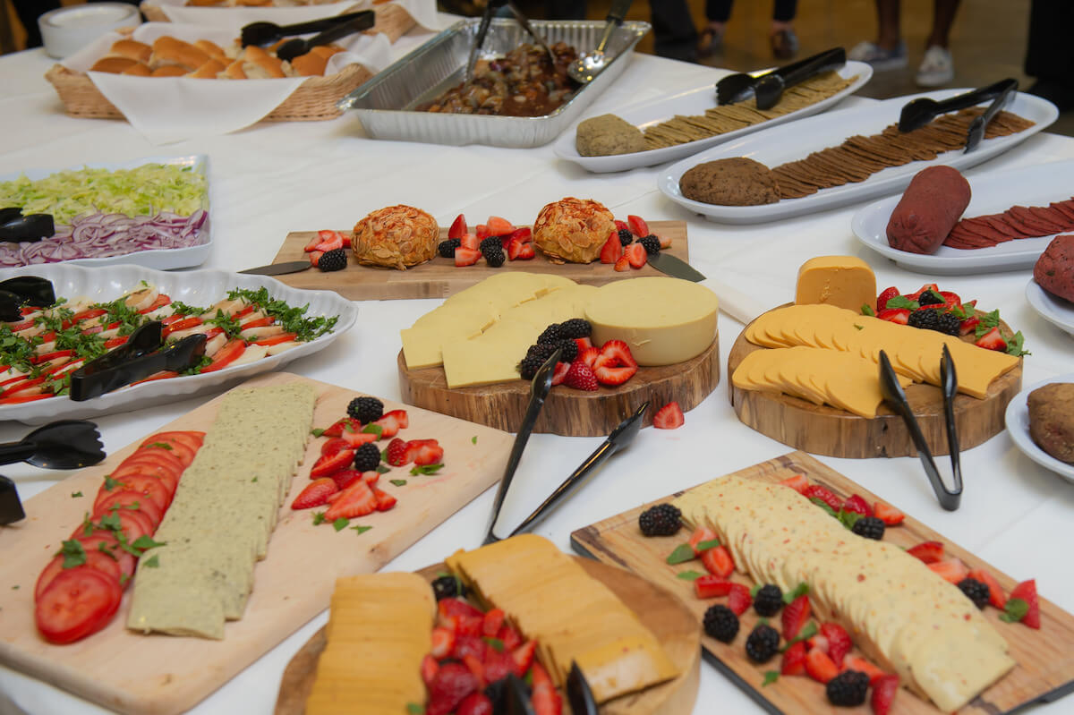 This is a selection of Rice University's new plant-based meats and cheeses. (Credit: Jeff Fitlow, Rice University)
