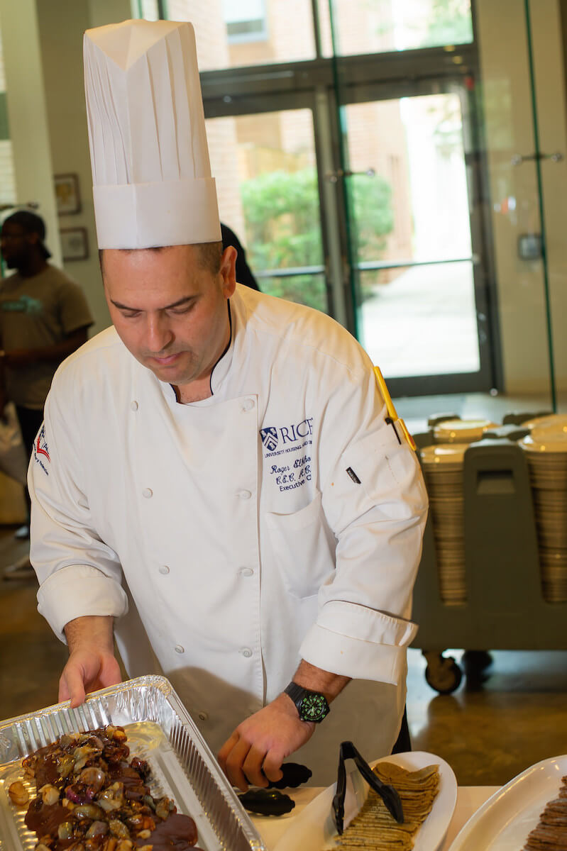 Rice University's senior executive chef Roger Elkhouri spent the past year perfecting the recipes for the plant-based charcuterie assortment (Credit: Jeff Fitlow, Rice University).