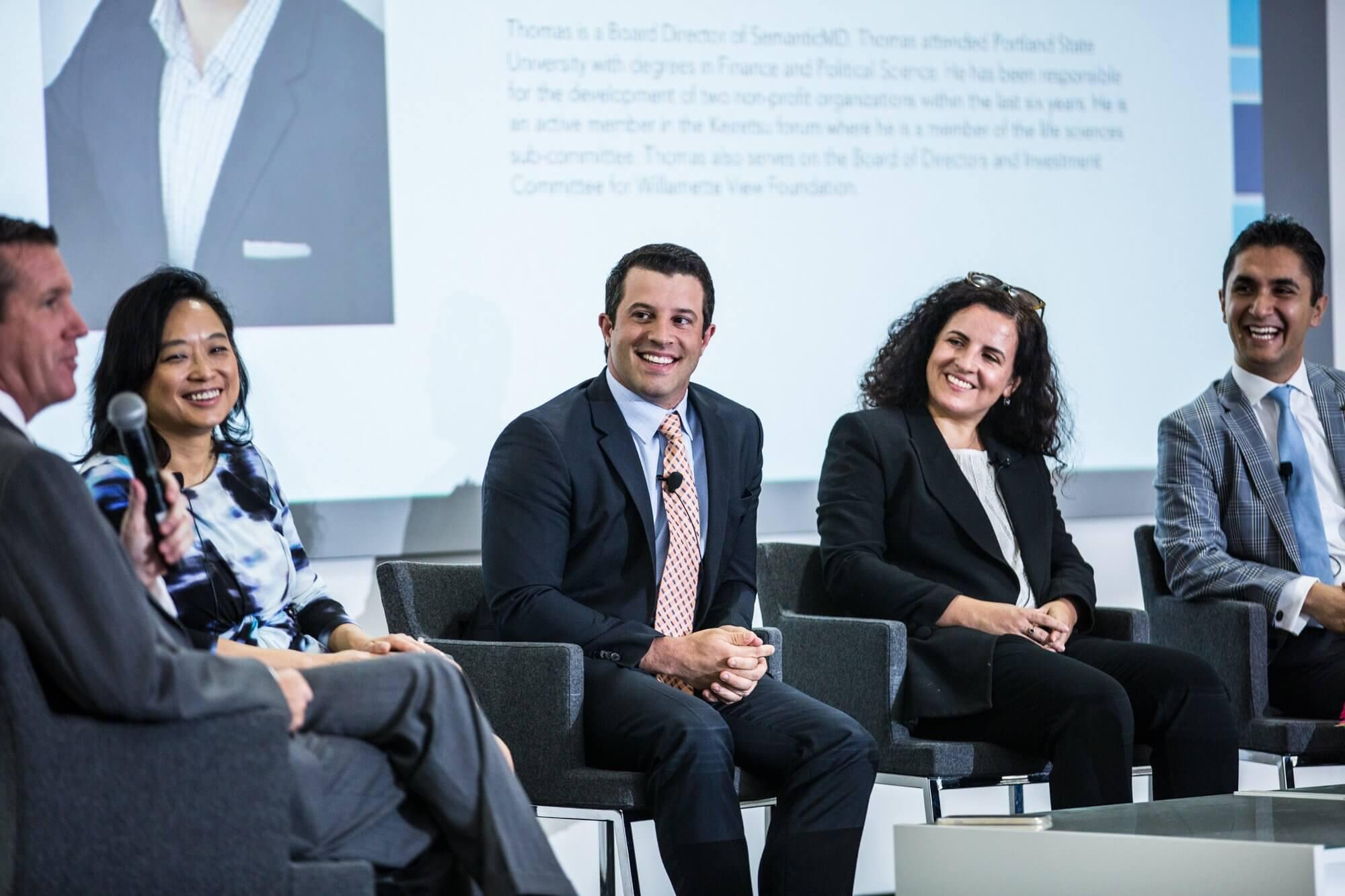 (Left to right) Moderator William F. McKeon and panelists Lynda Chin, M.D., Thomas DeSouza, Juliana Garaizar, and Farzad Soleimani, M.D.