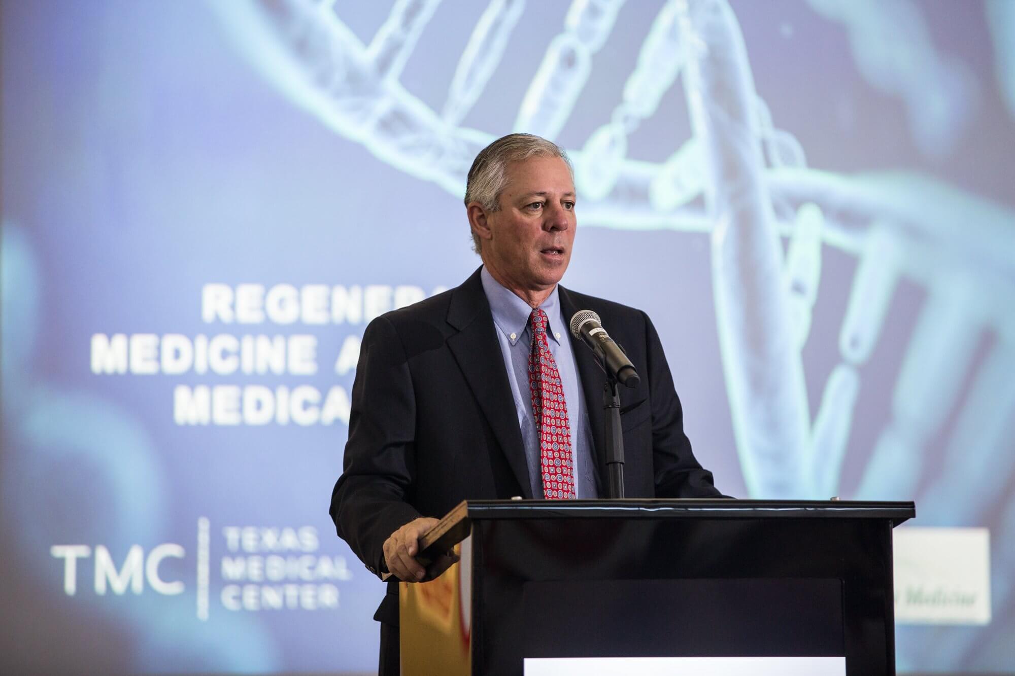 Robert C. Robbins, M.D., president and chief executive officer of the Texas Medical Center, provides opening remarks