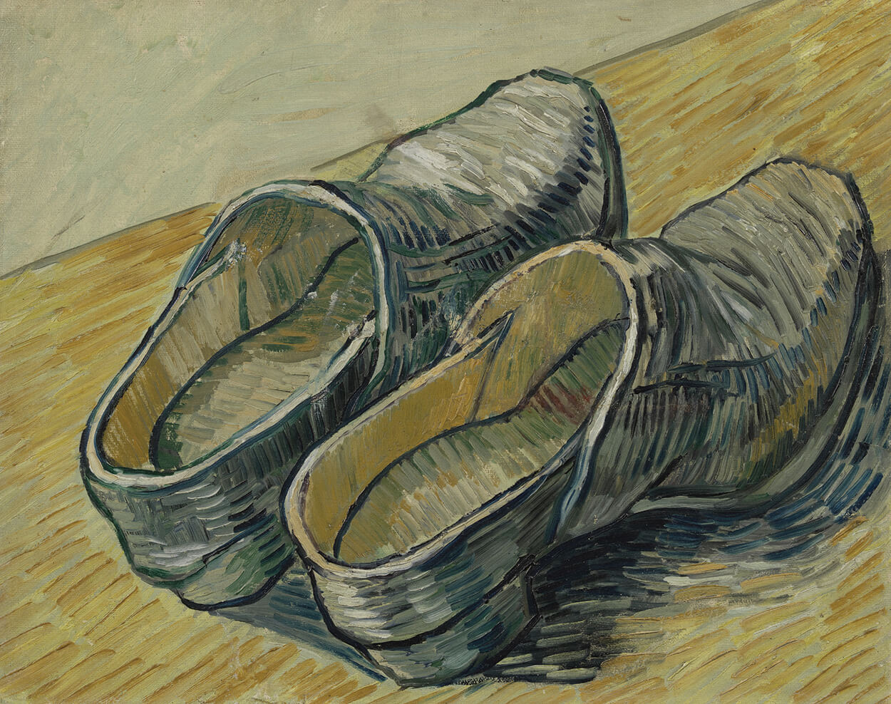 A Pair of Leather Clogs, autumn 1889, oil on canvas by Vincent van Gogh.