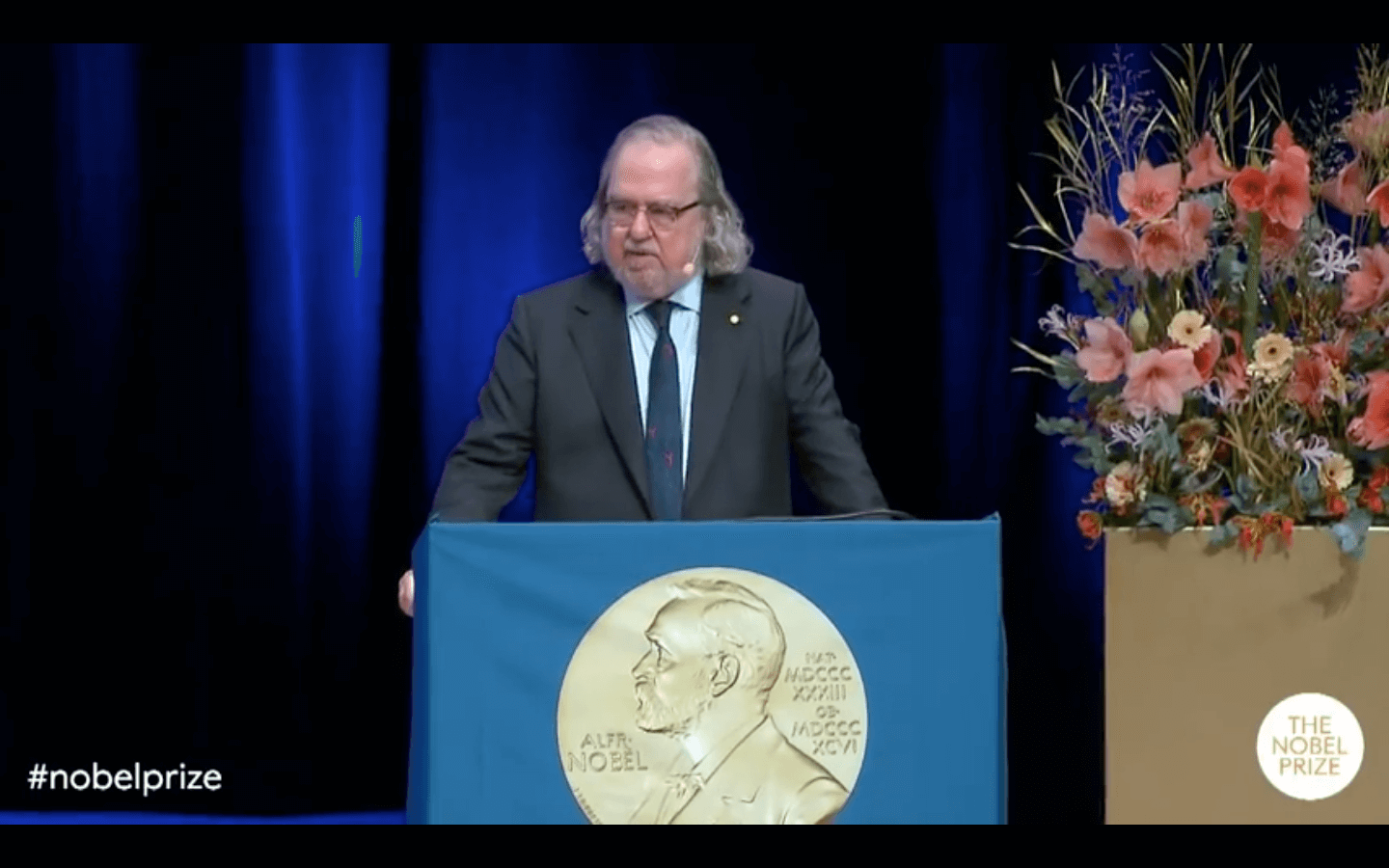 James P. Allison, Ph.D., delivered his Nobel Lecture on Dec. 7, 2018 at the Karolinska Institutet in Stockholm, a requirement of receiving his joint Nobel Prize in Physiology or Medicine in Sweden on Dec. 10, 2018. (Image from YouTube)