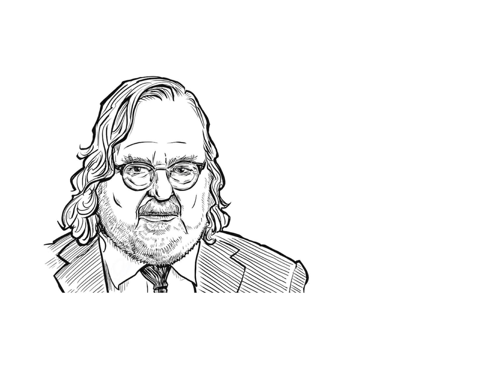 MD Anderson immunologist and 2018 Nobel laureate James P. Allison, Ph.D. (Original drawing by Ken Ellis)
