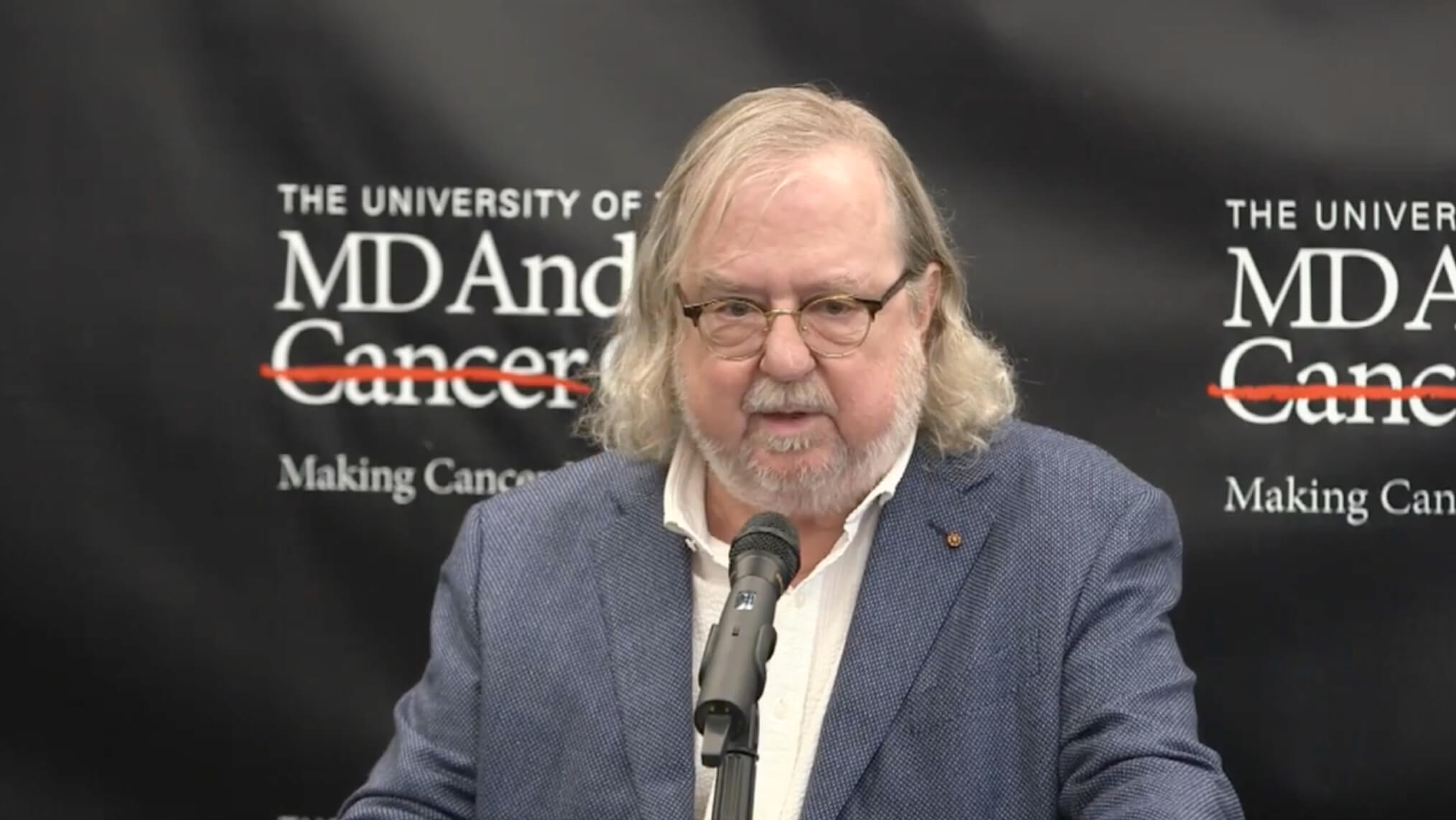 MD Anderson immunologist James P. Allison, Ph.D., reacts to receiving the 2018 Nobel Prize in Physiology or Medicine during a news conference on Oct. 1, 2018 in New York City where he was attending a cancer immunotherapy conference. (MD Anderson live feed)
