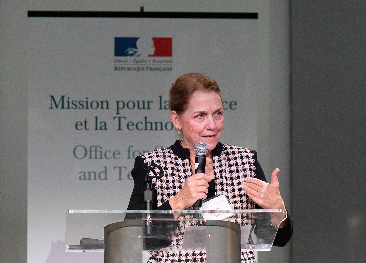 Barbara Bass, M.D., speaks at the second French American Innovation Day.