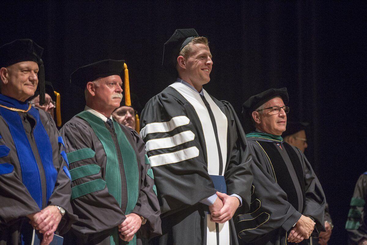 Dr. Persse, J.J. Watt and Dr. Klotman at the BCM graduation.