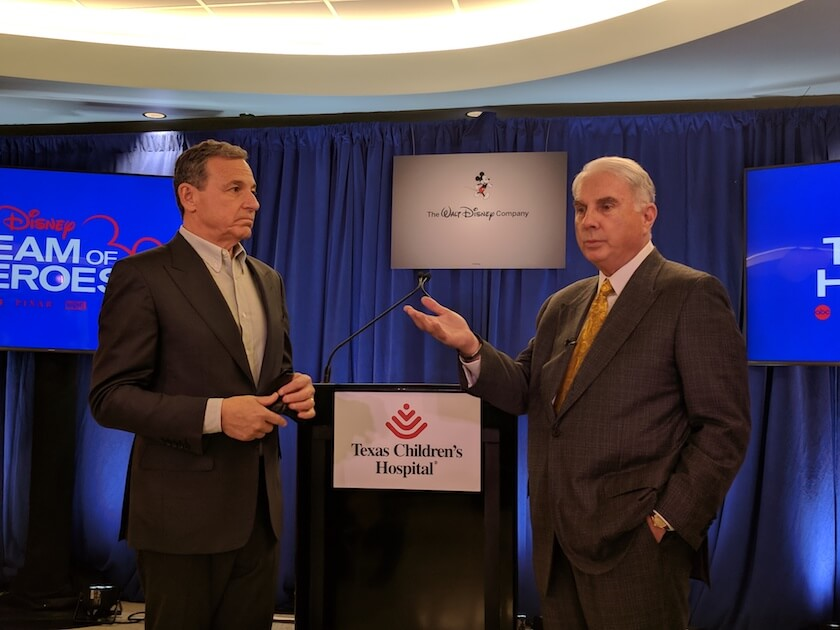 Walt Disney Co. chairman and CEO Robert Iger, left, and Texas Children's Hospital president and CEO Mark Wallace announce the Disney Team of Heroes initiative.