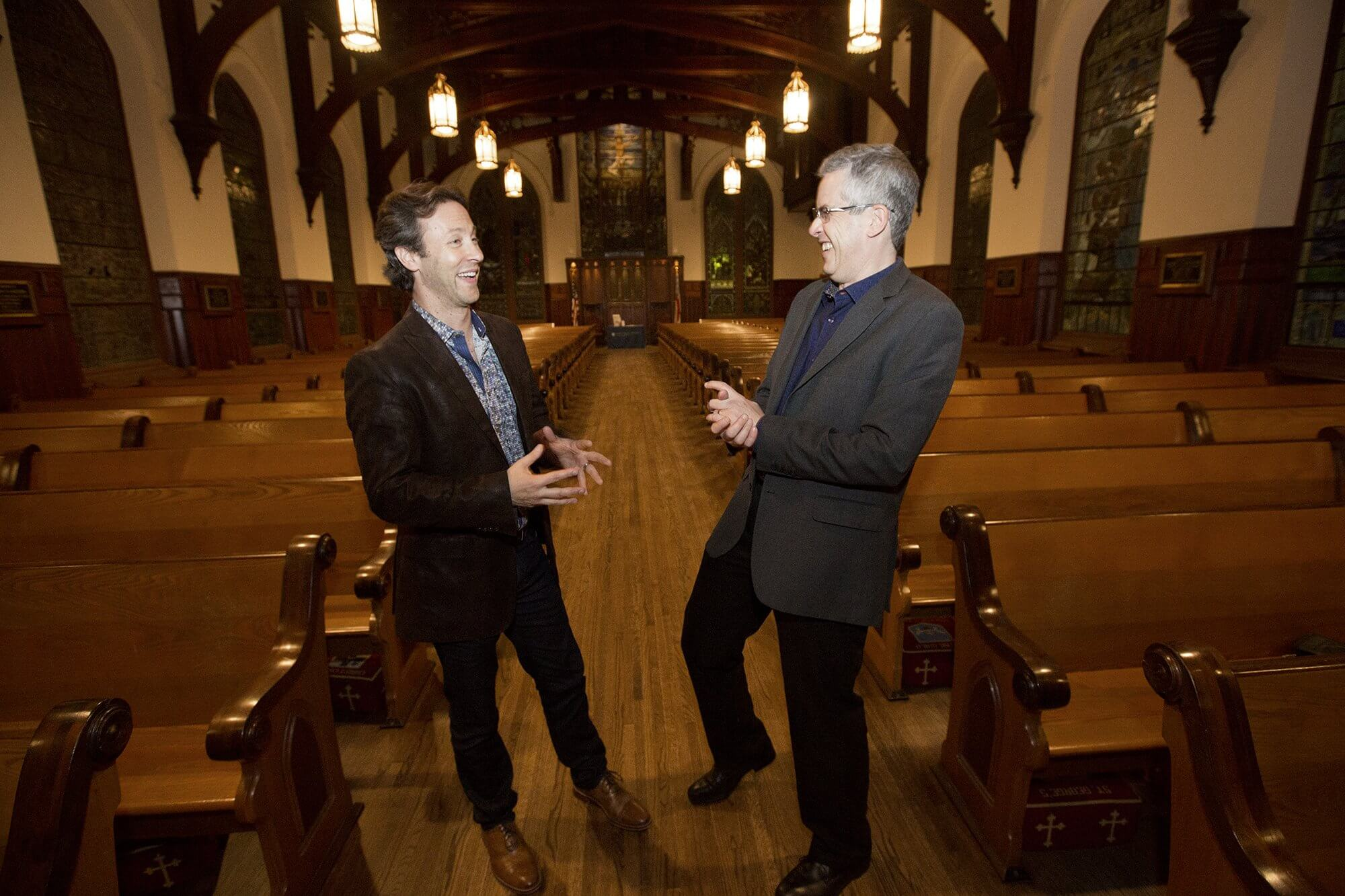 David Eagleman, Ph.D., and Anthony Brandt, Ph.D., joke around together after a sold out appearance at Christ Church Cathedral to promote their new book, The Runaway Species.