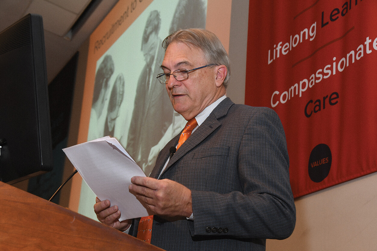 Bryant Boutwell reads an excerpt from his book at a UTHealth event. (Photo by Dwight C. Andrews, McGovern Medical School at UTHealth)
