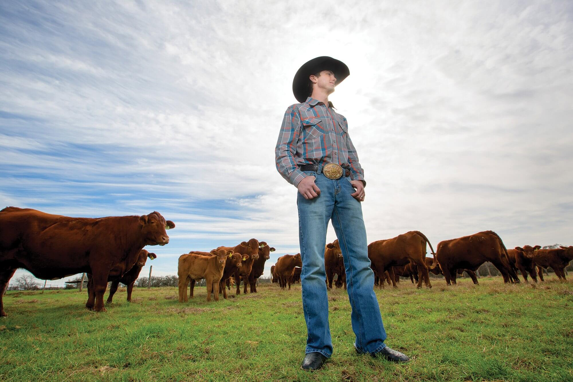 Cody Teel at his wife's family's ranch outside of College Station, Texas.