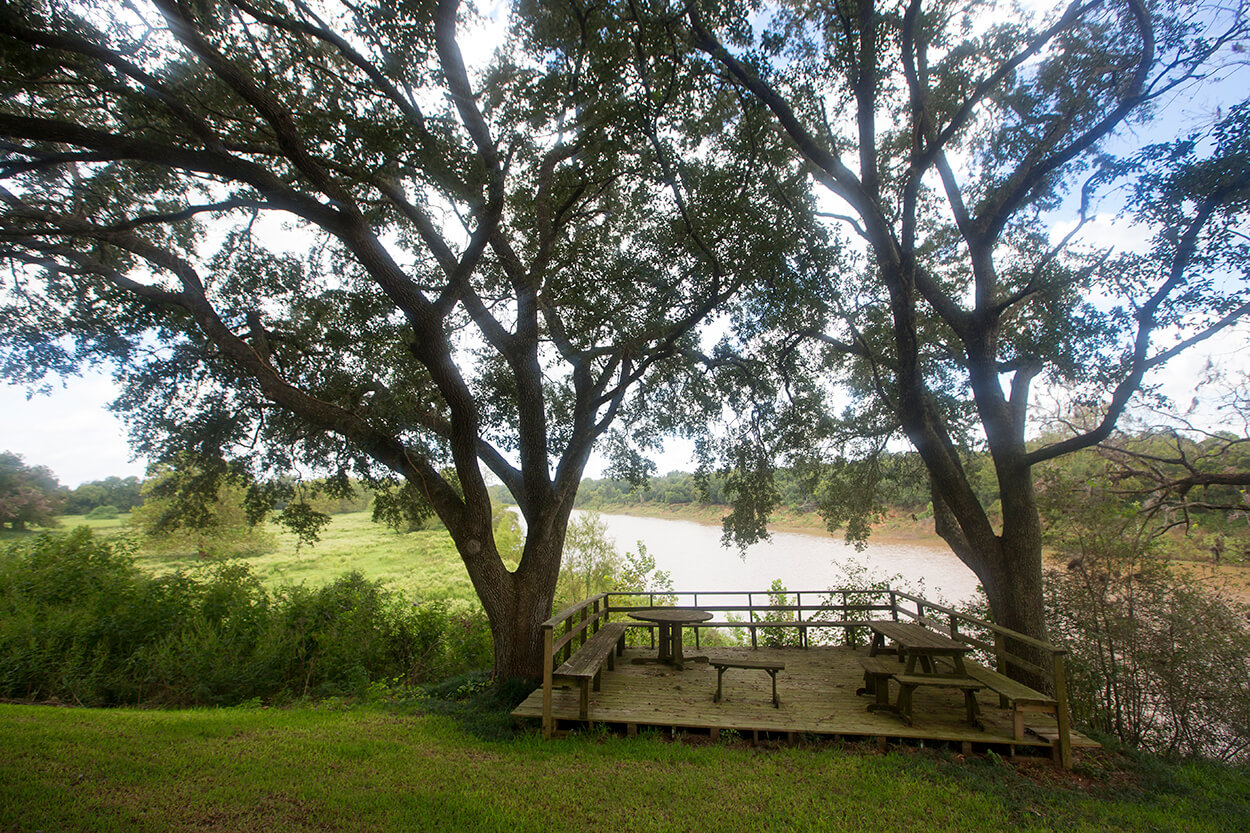 The property sits on a bluff 115 feet above the Brazos River.