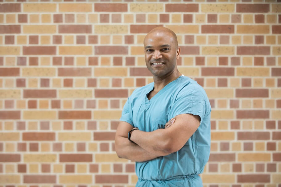 Corey Cowart, a doctorate of nursing practice student in the inaugural Fall 2018 cohort at the University of St. Thomas, works as an operating room nurse at Harris Health System's Ben Taub General Hospital. (Photo: Darnell L. Miller | University of St. Thomas)