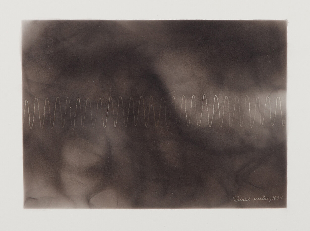 Dario Robleto's photolithograph of First Pulse, 1854, retraced the original image using ink, hand-flamed and sooted paper, lithotine, shellac and alcohol.