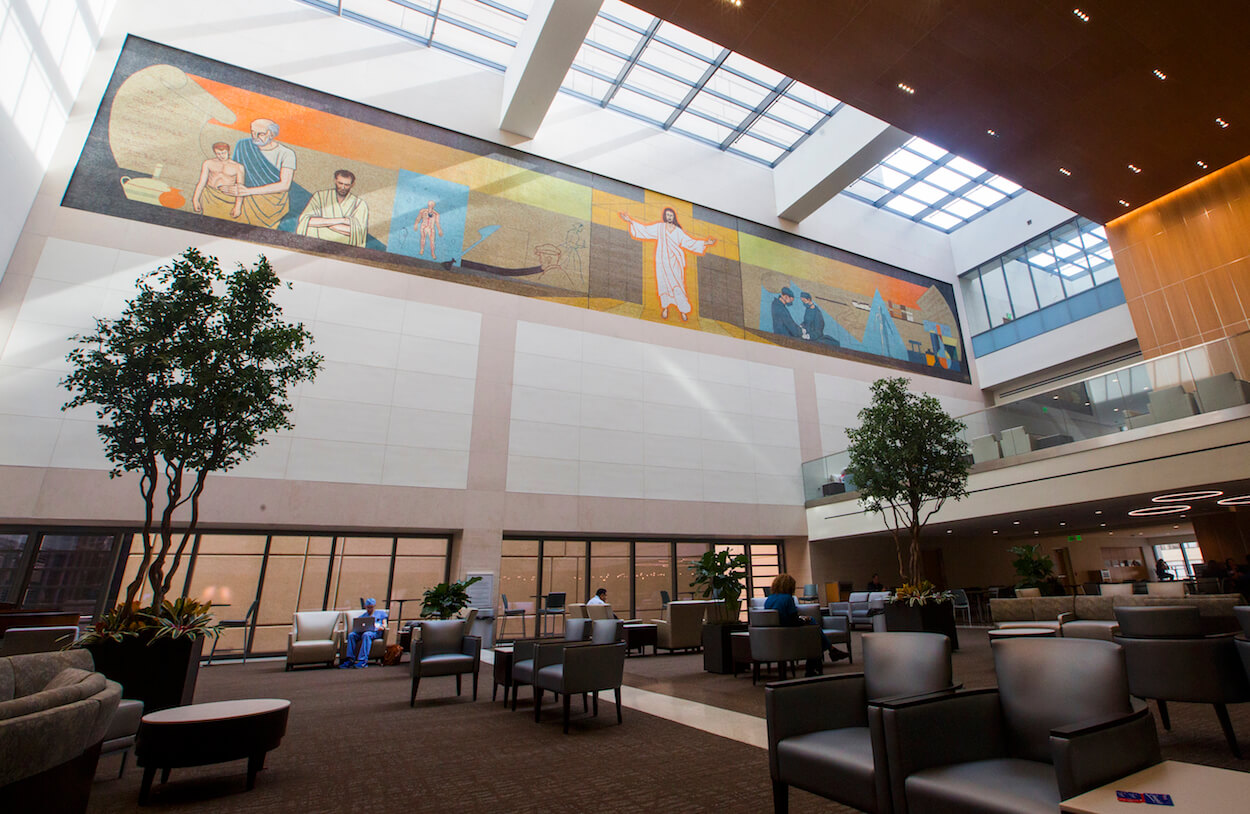 Approximately 1.5 million Italian glass tiles make up the mosaic in Houston Methodist's Walter Tower.