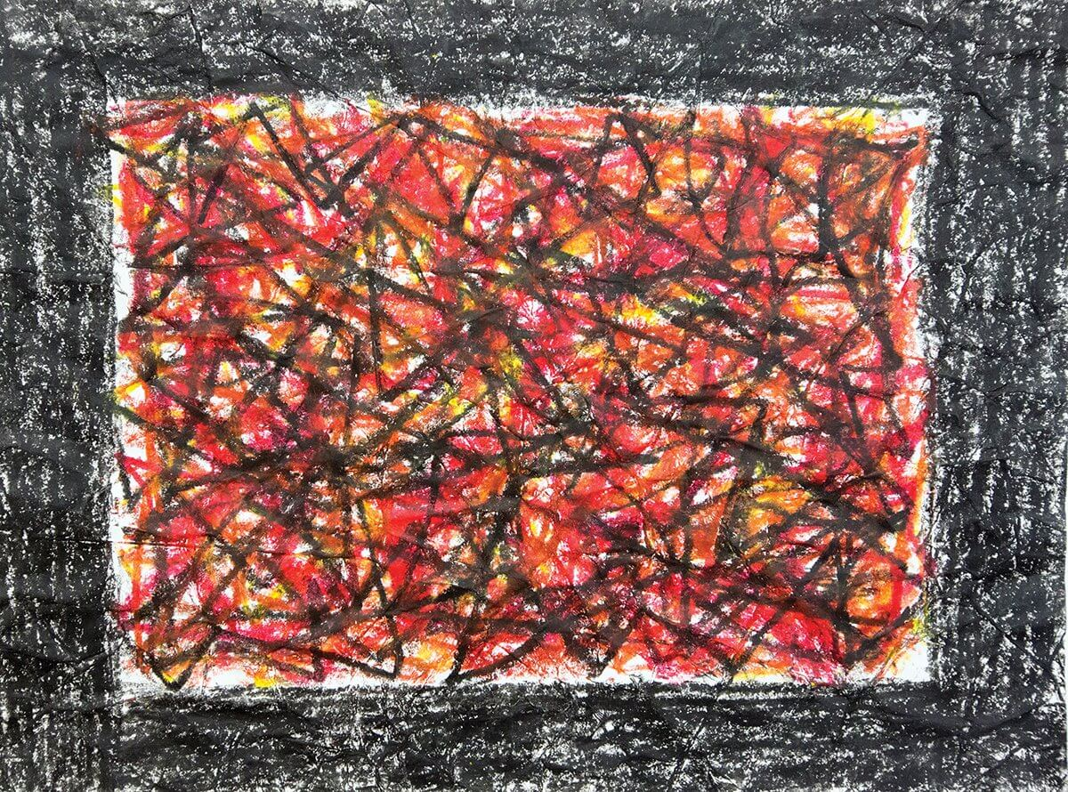 The first piece of artwork by one of Moore's patients is surrounded by a thick, black border.