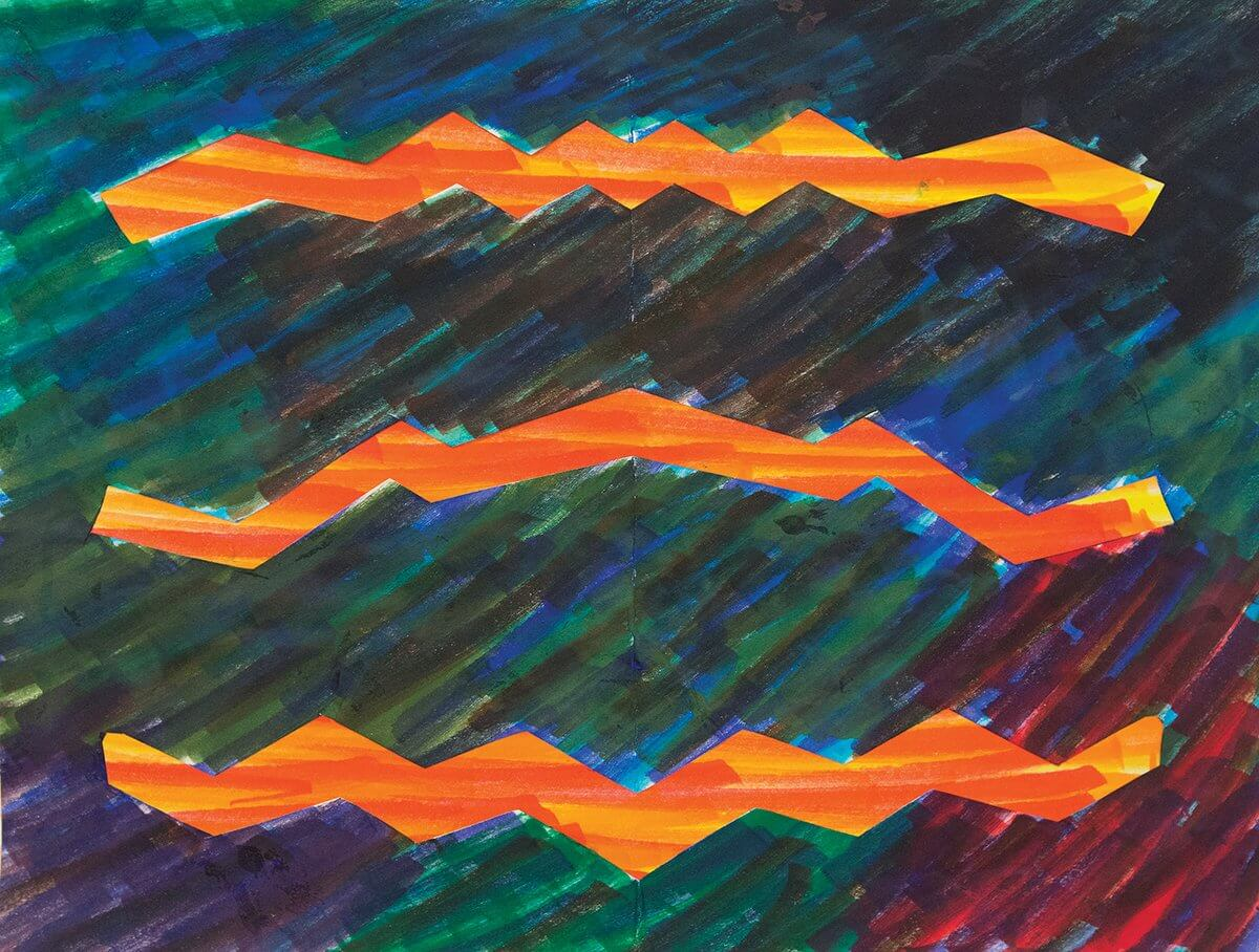The final piece of art by the same patient features lighting bolts in brighter colors.